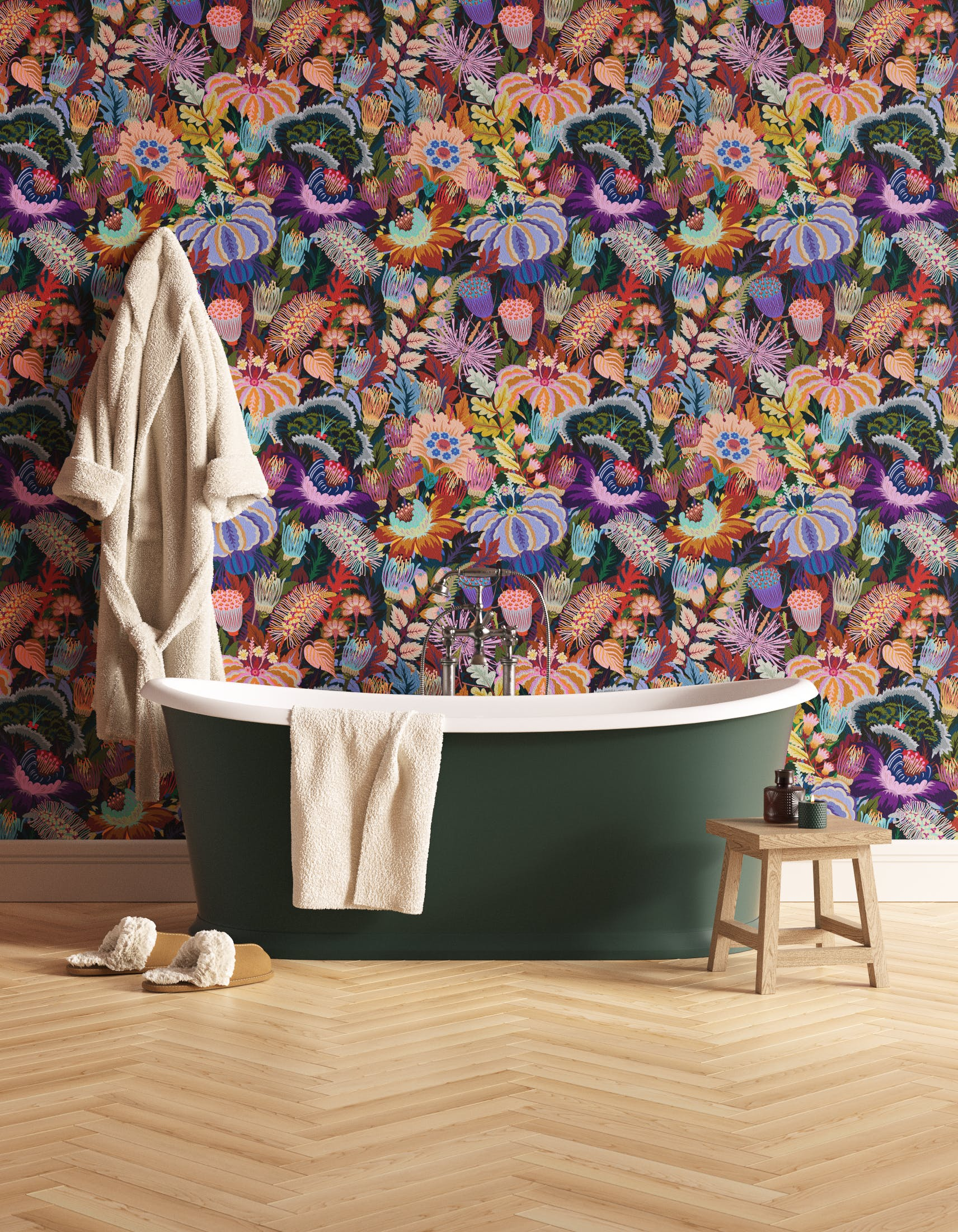 Bathroom decorated with Lick Mars Meadow 01, a dark green floral wallpaper
