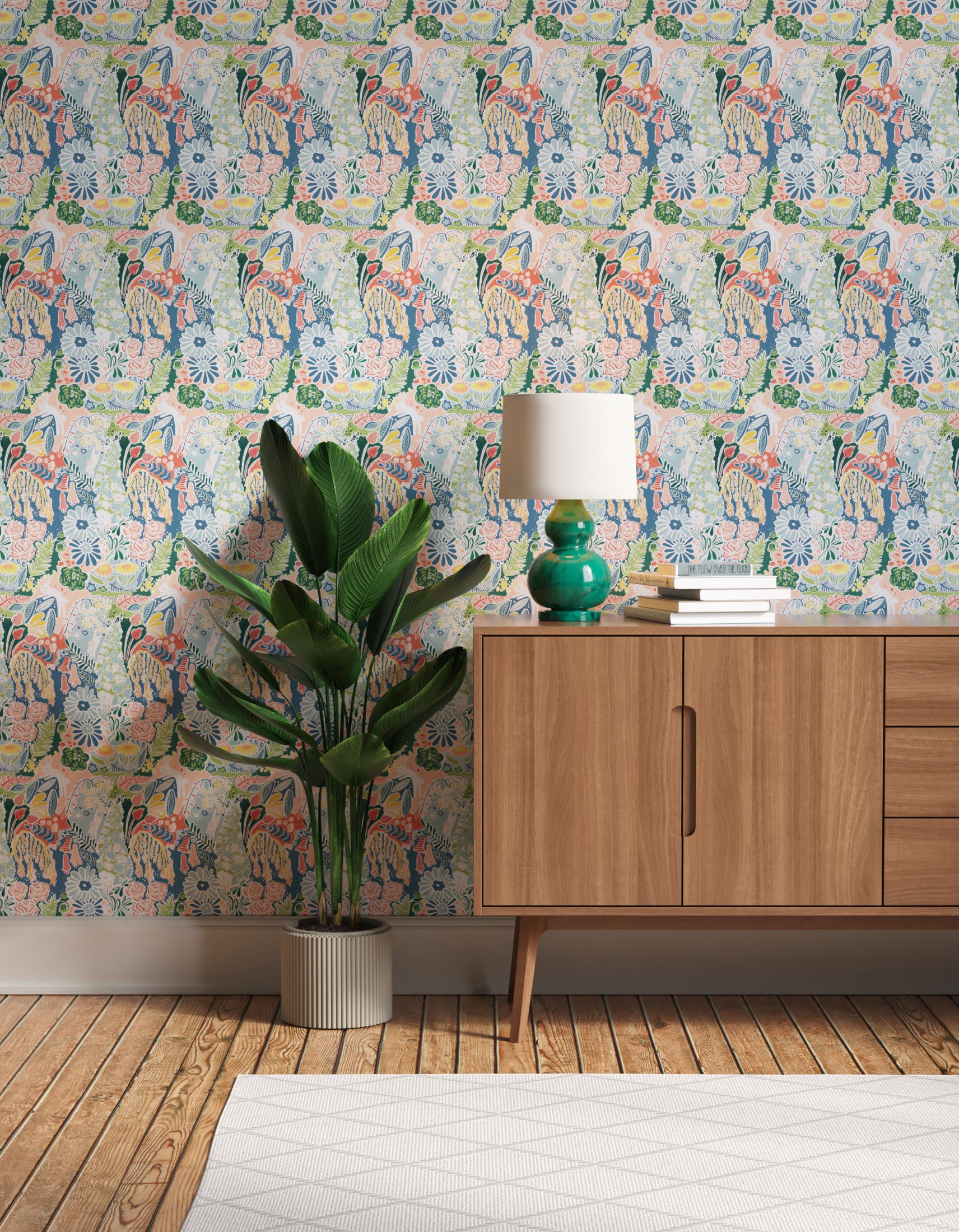 Hallway decorated with Lick x Franki Barber Enchanted Forest 01 kid's magical rabbit wallpaper
