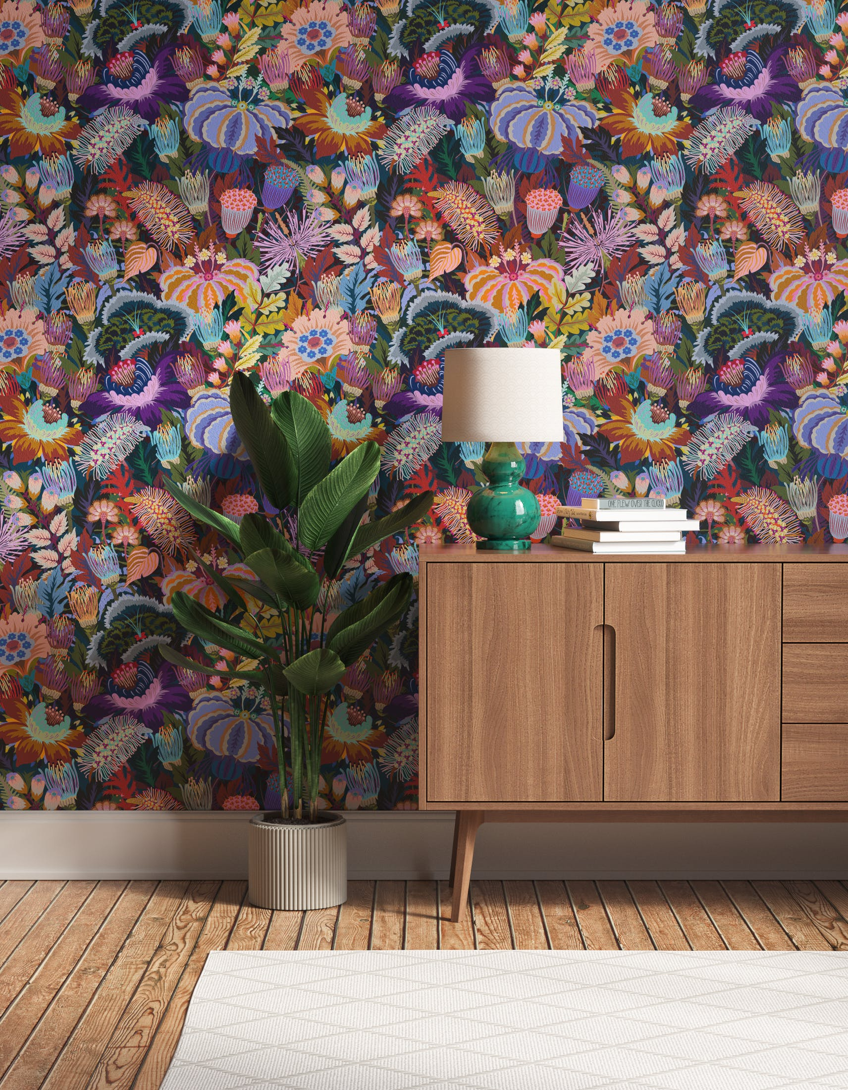 Hallway decorated with Lick Mars Meadow 01, a dark green floral wallpaper
