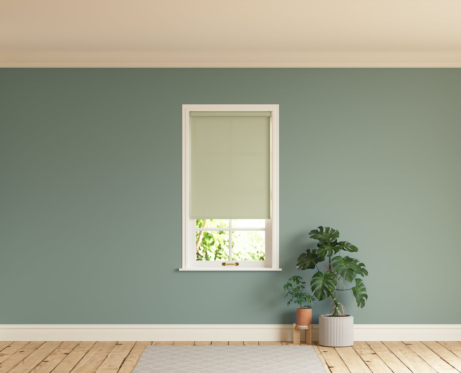 Room with walls painted in Lick Green 02 and Green 01 roller blinds