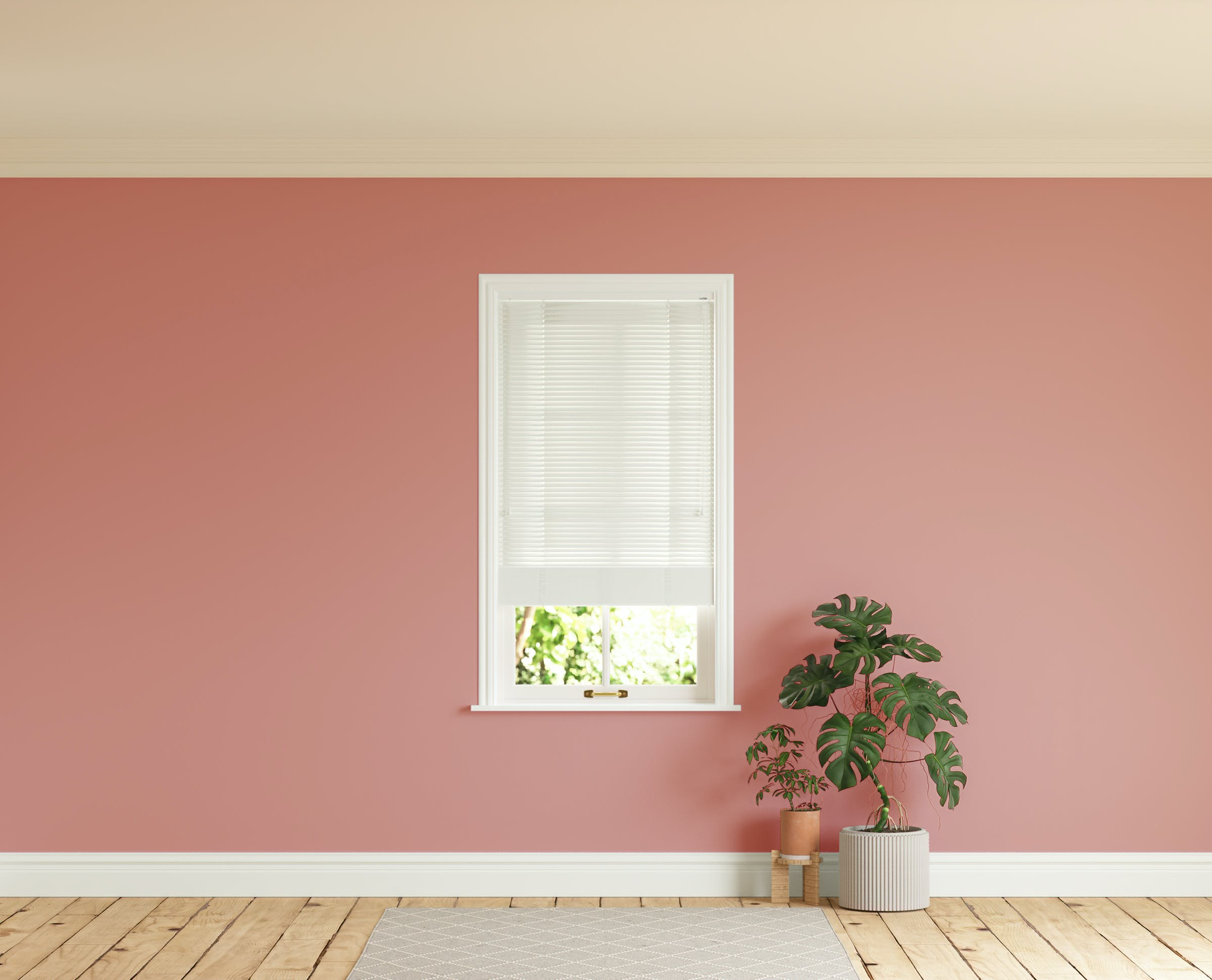 Room with walls painted in Lick Red 03 and White 01 Venetian fine grain blinds