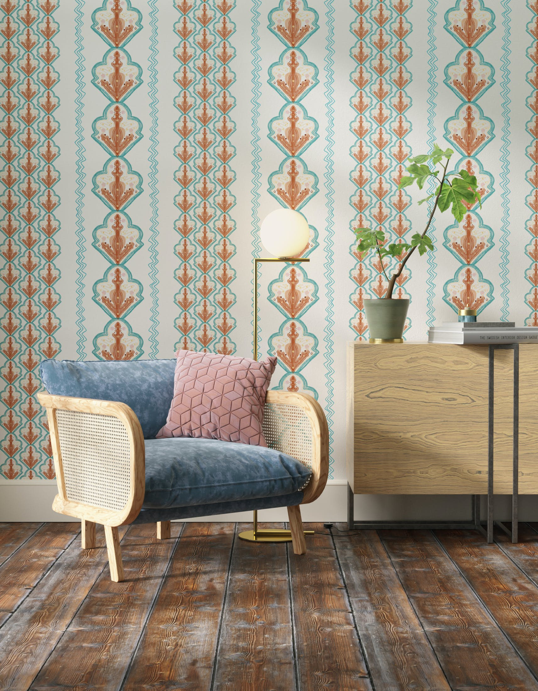 Living room decorated with Lick x Lottie McDowell Travelling Tiles 02 orange patterned mosaic wallpaper