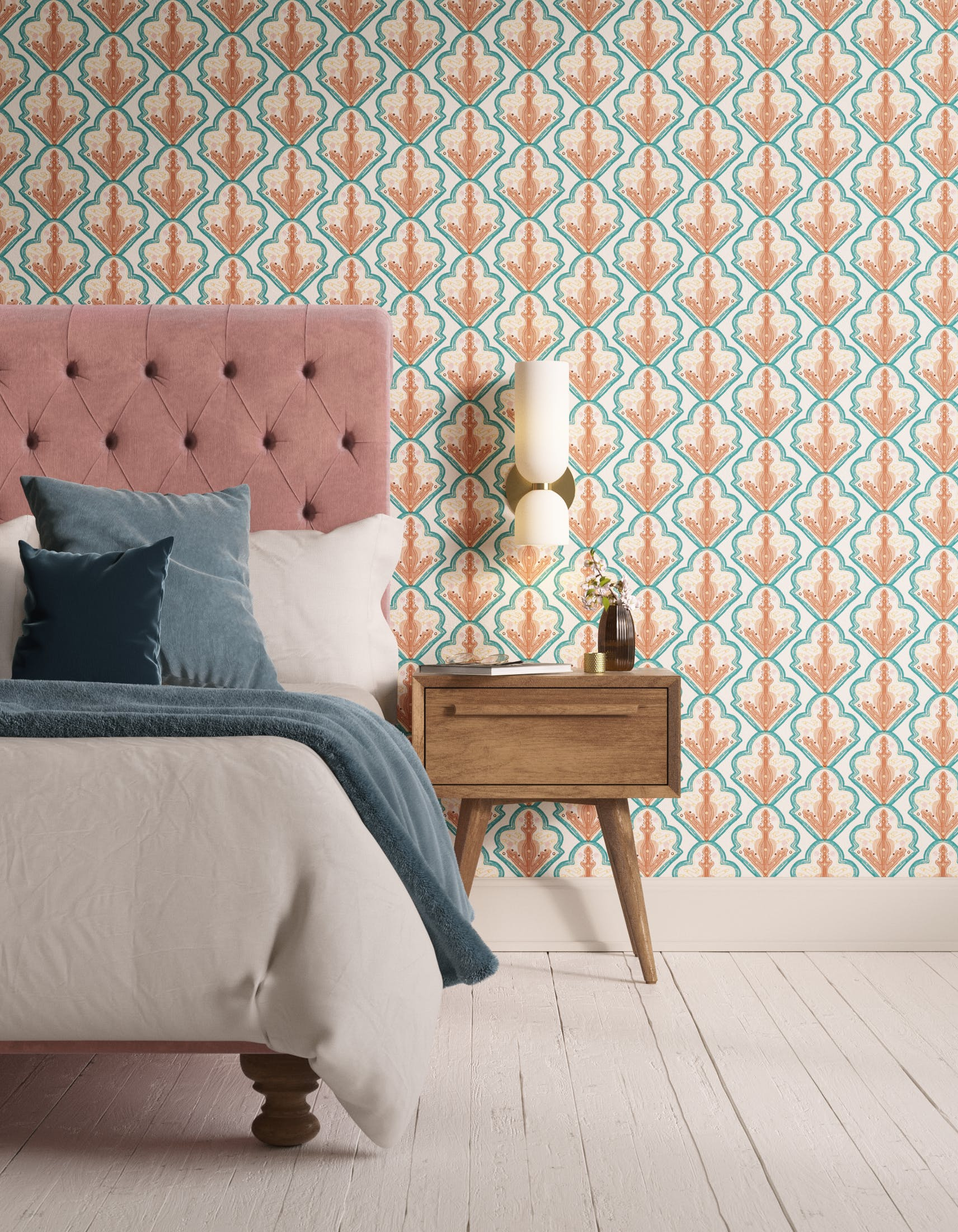 Bedroom decorated with Lick x Lottie McDowell Travelling Tiles 01 mosaic wallpaper