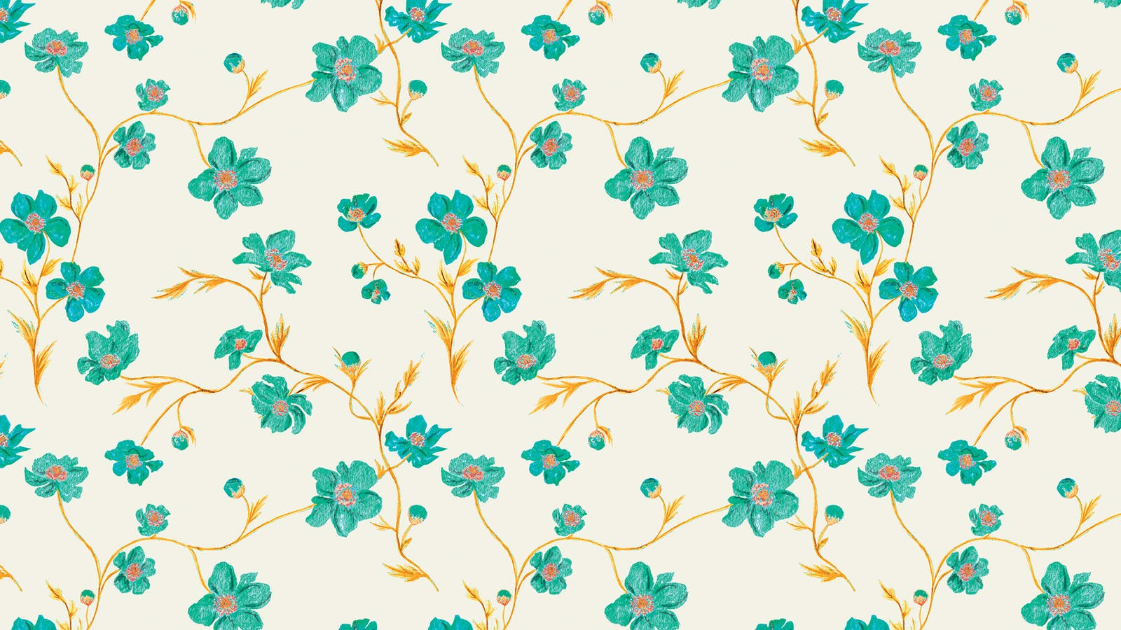 Lick x Jenna Hewitt Anemone 01 turquoise floral wallpaper