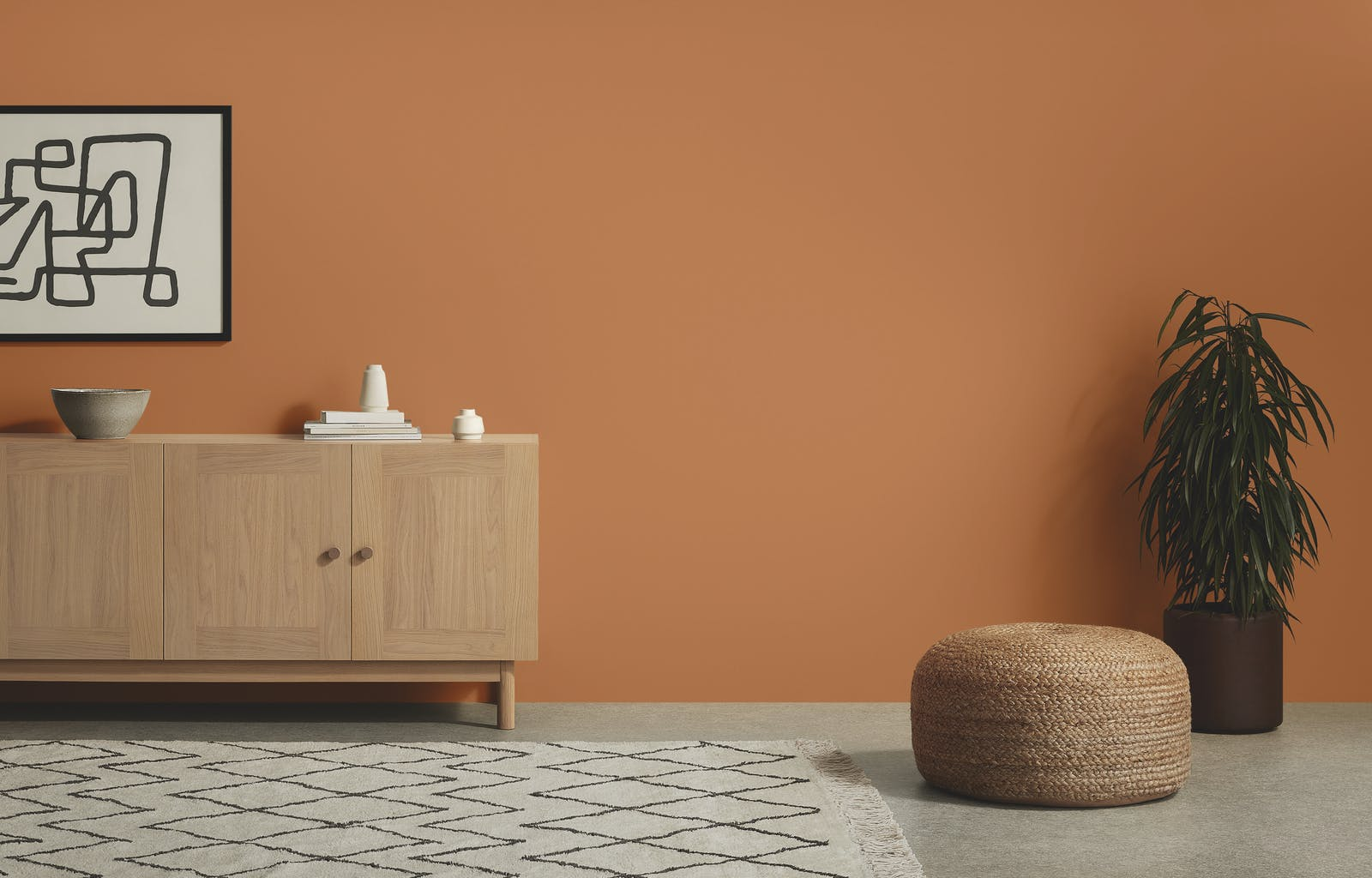 Room with MADE furniture and Lick Orange 02 paint