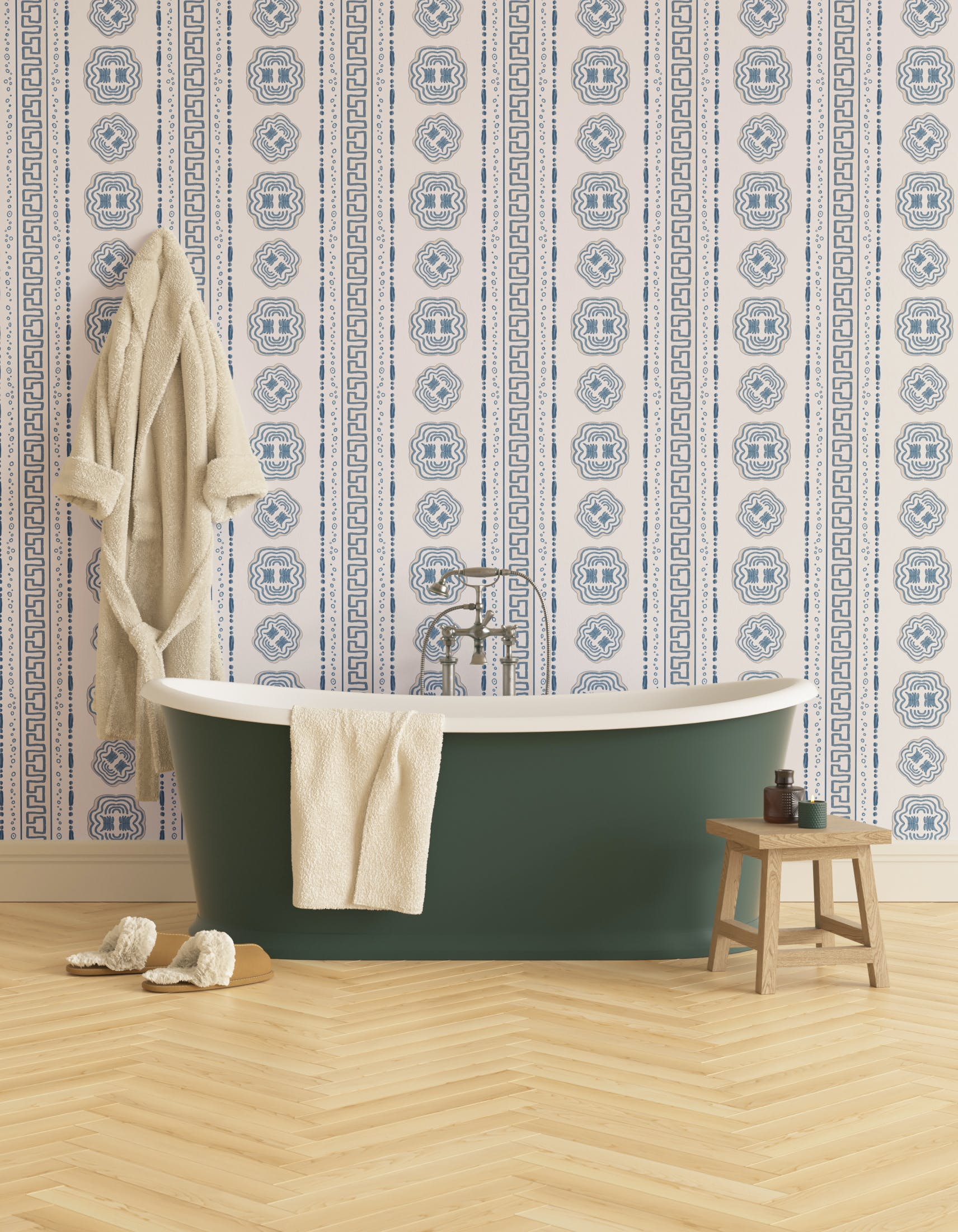 Bathroom decorated with Lick x Lottie McDowell Hestia 01 greek patterened wallpaper