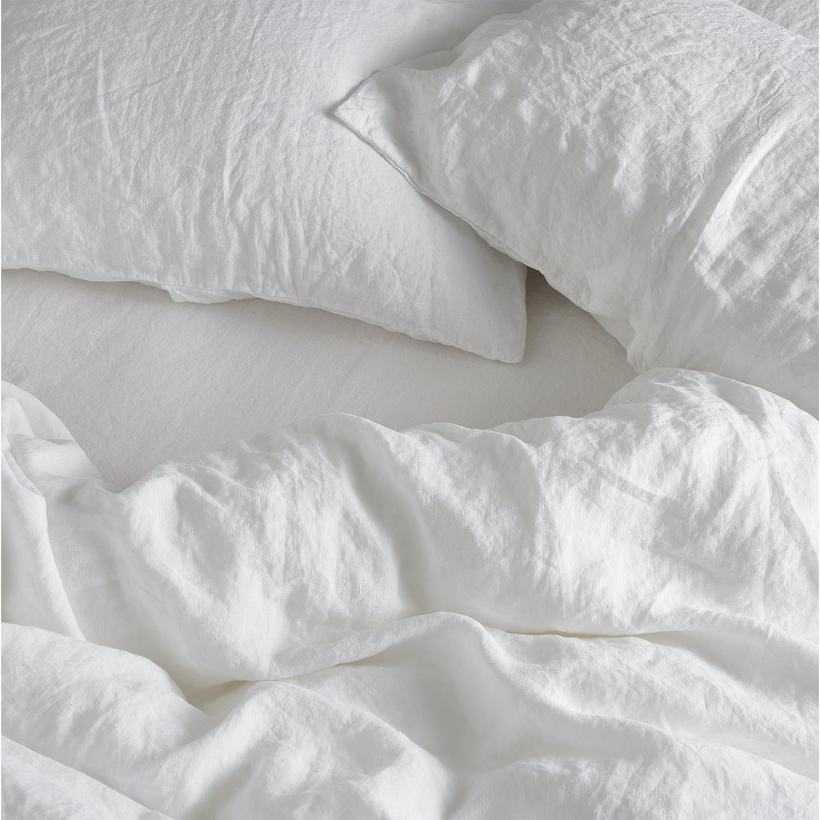 Bedfolk white textured linen bedding
