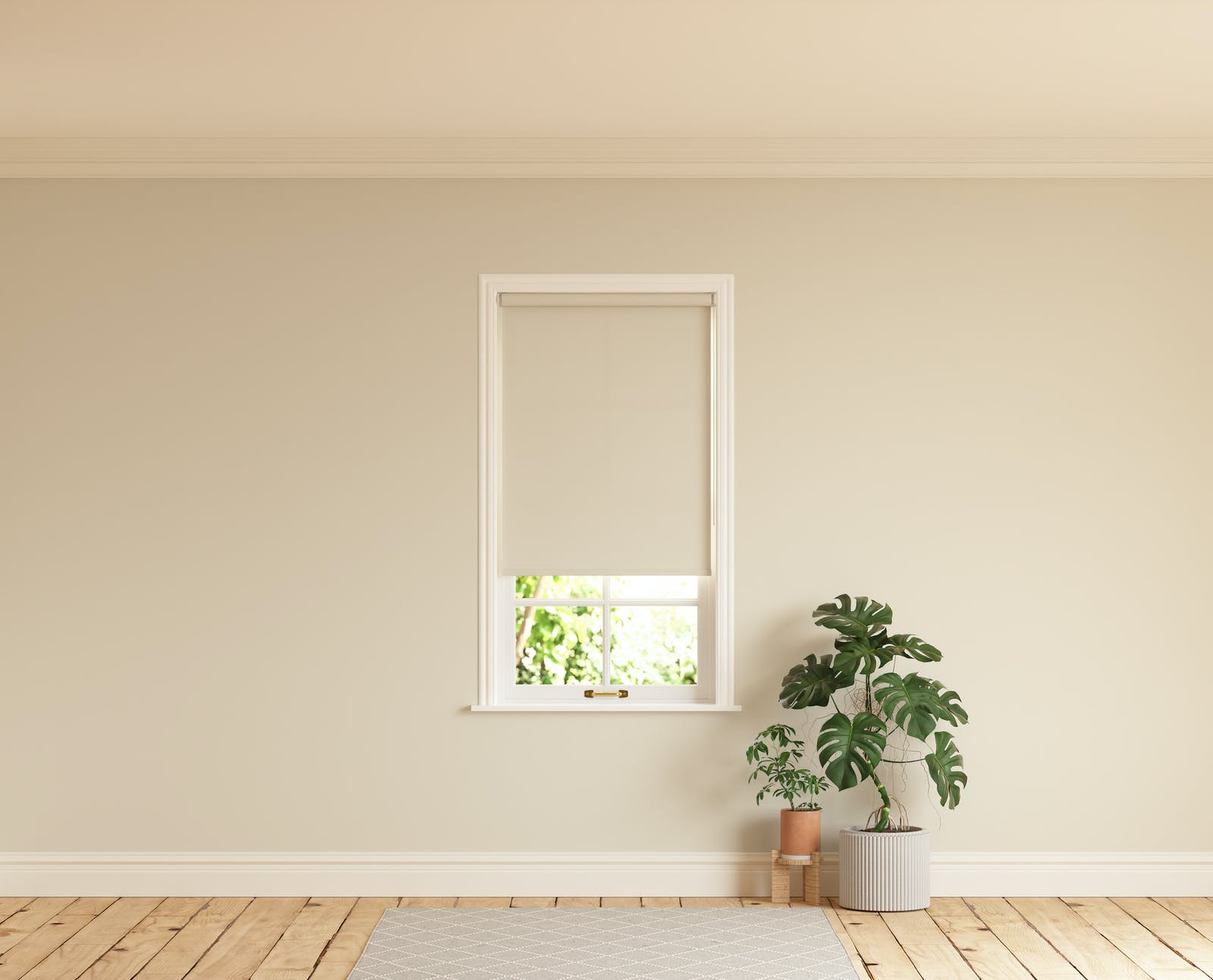 Room with walls painted in Lick Beige 01 and Beige 01 roller blinds