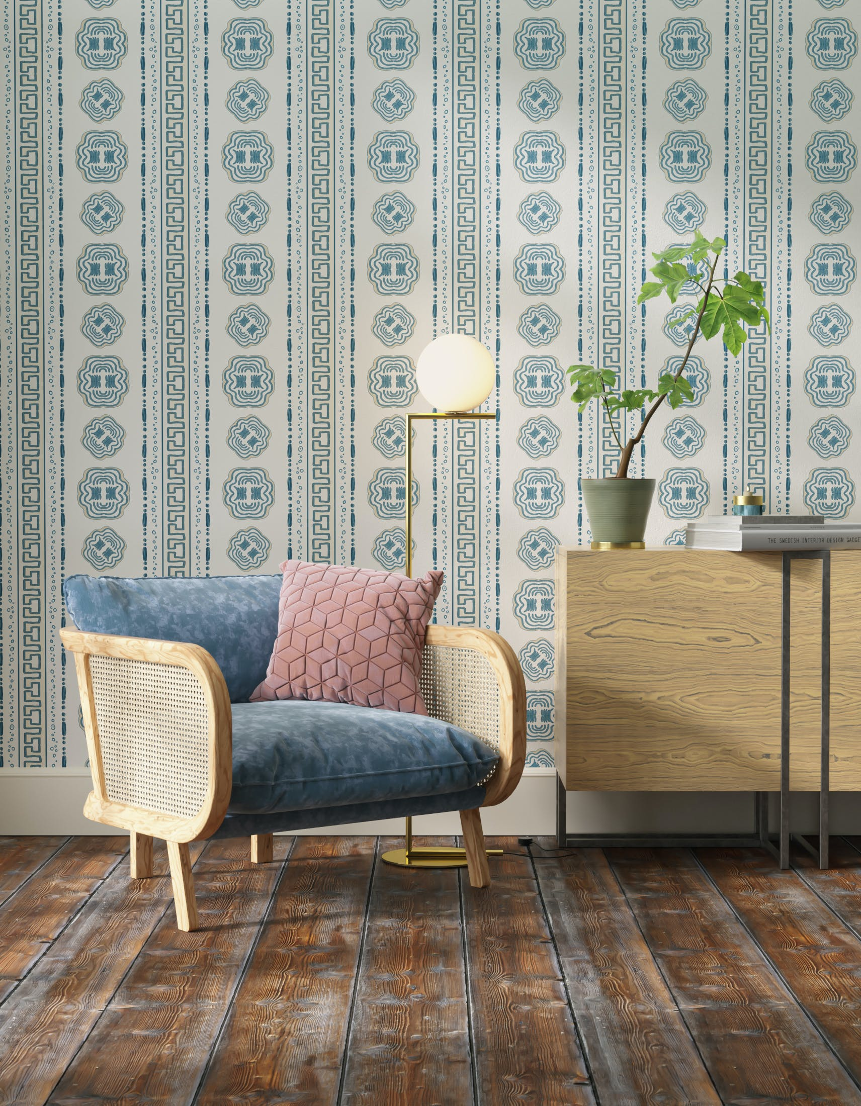Living room decorated with Lick x Lottie McDowell Hestia 01 greek patterened wallpaper