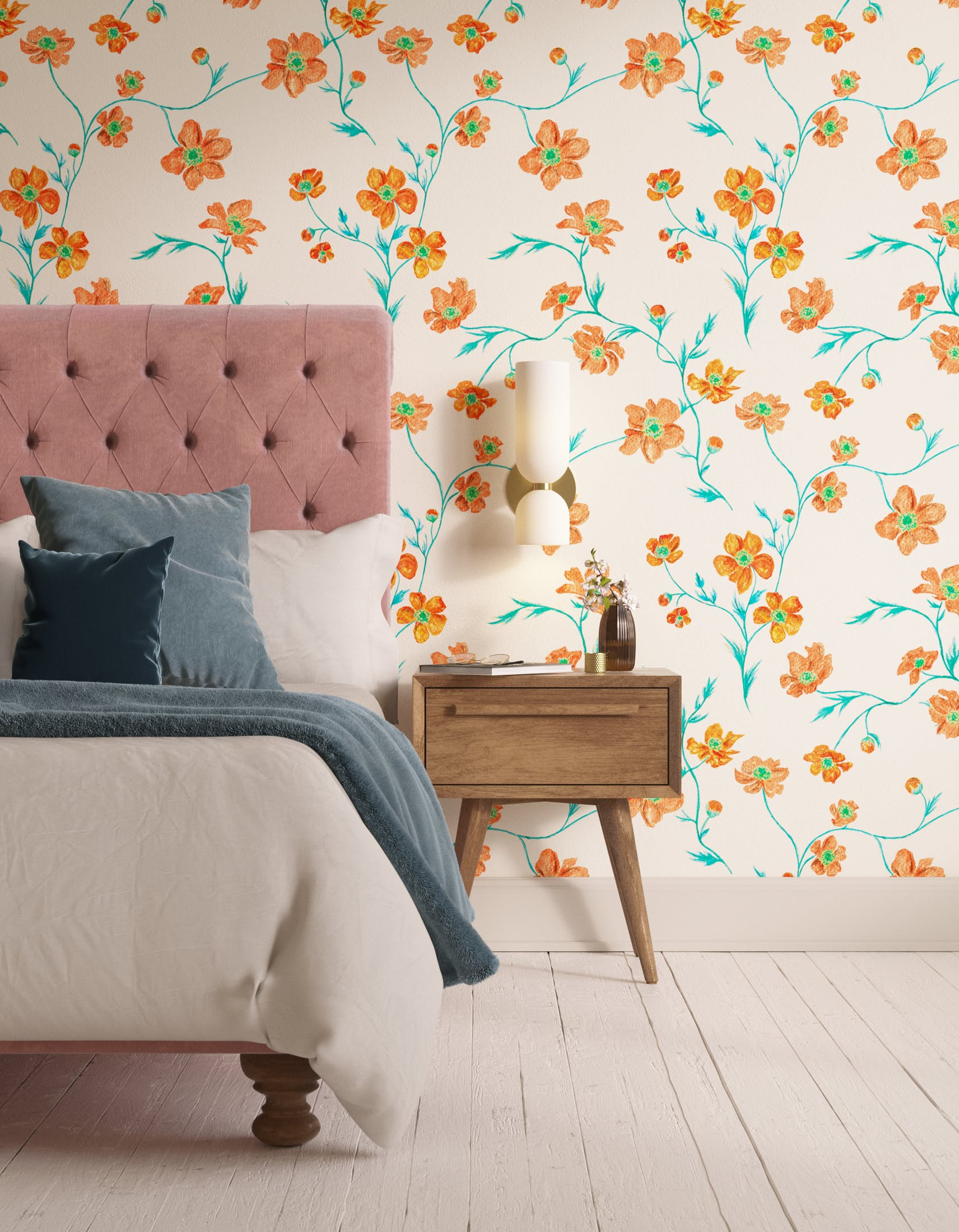 Bedroom decorated with Lick x Jenna Hewitt Anemone 02 orange floral wallpaper