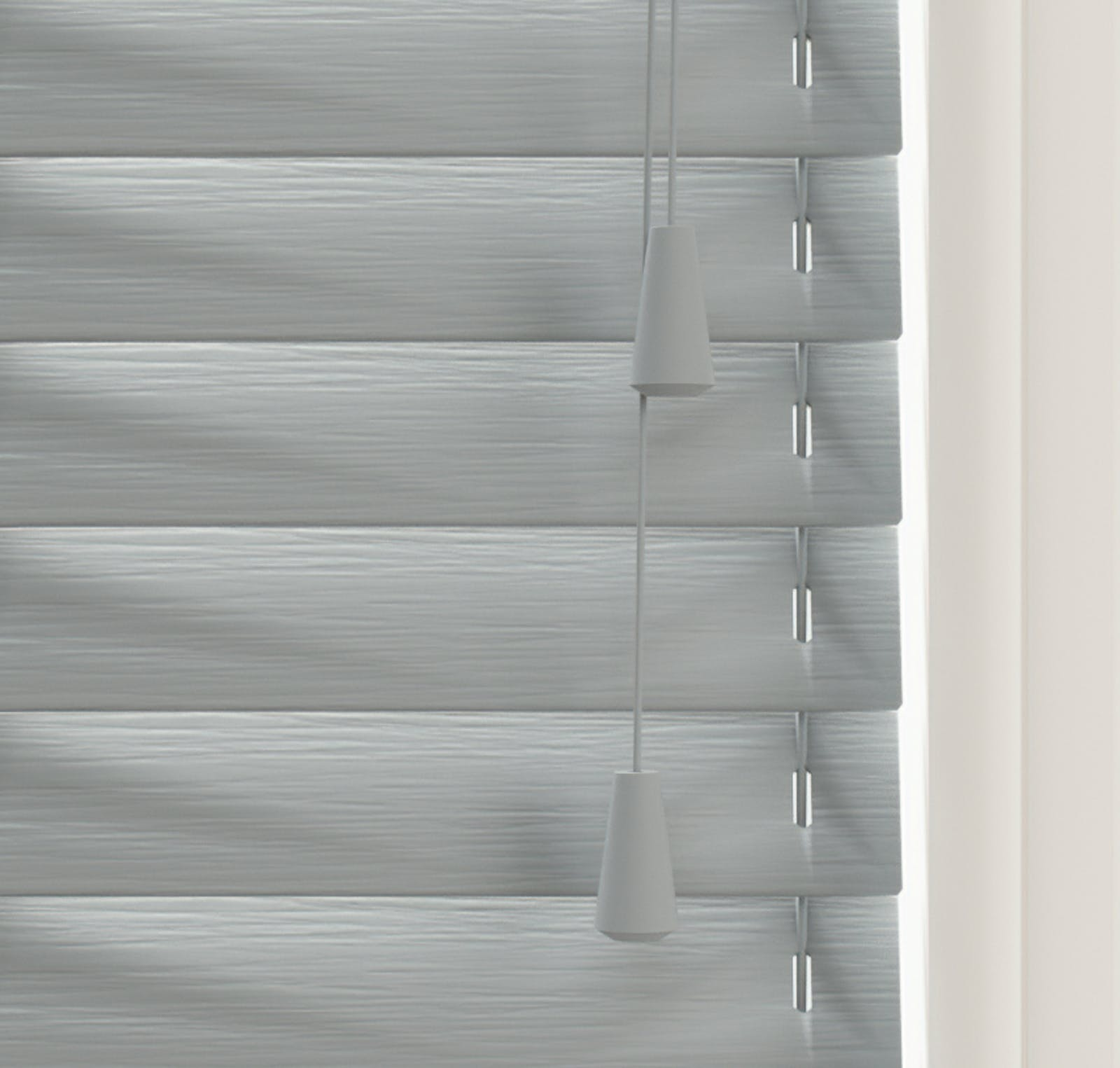 Close up view of Lick Grey 06 Venetian fine grain blinds