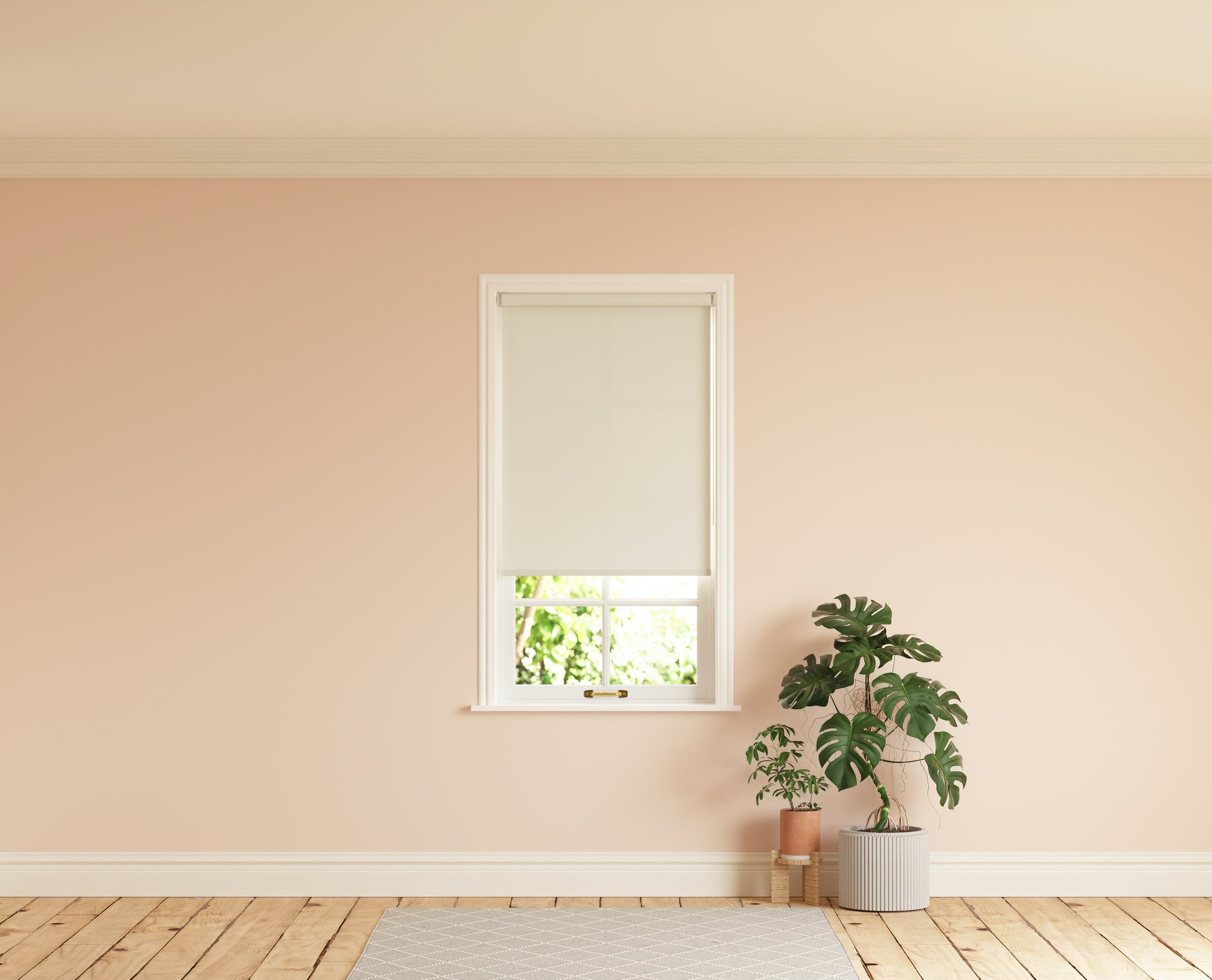 Room with walls painted in Lick Pink 02 and White 05 roller blinds
