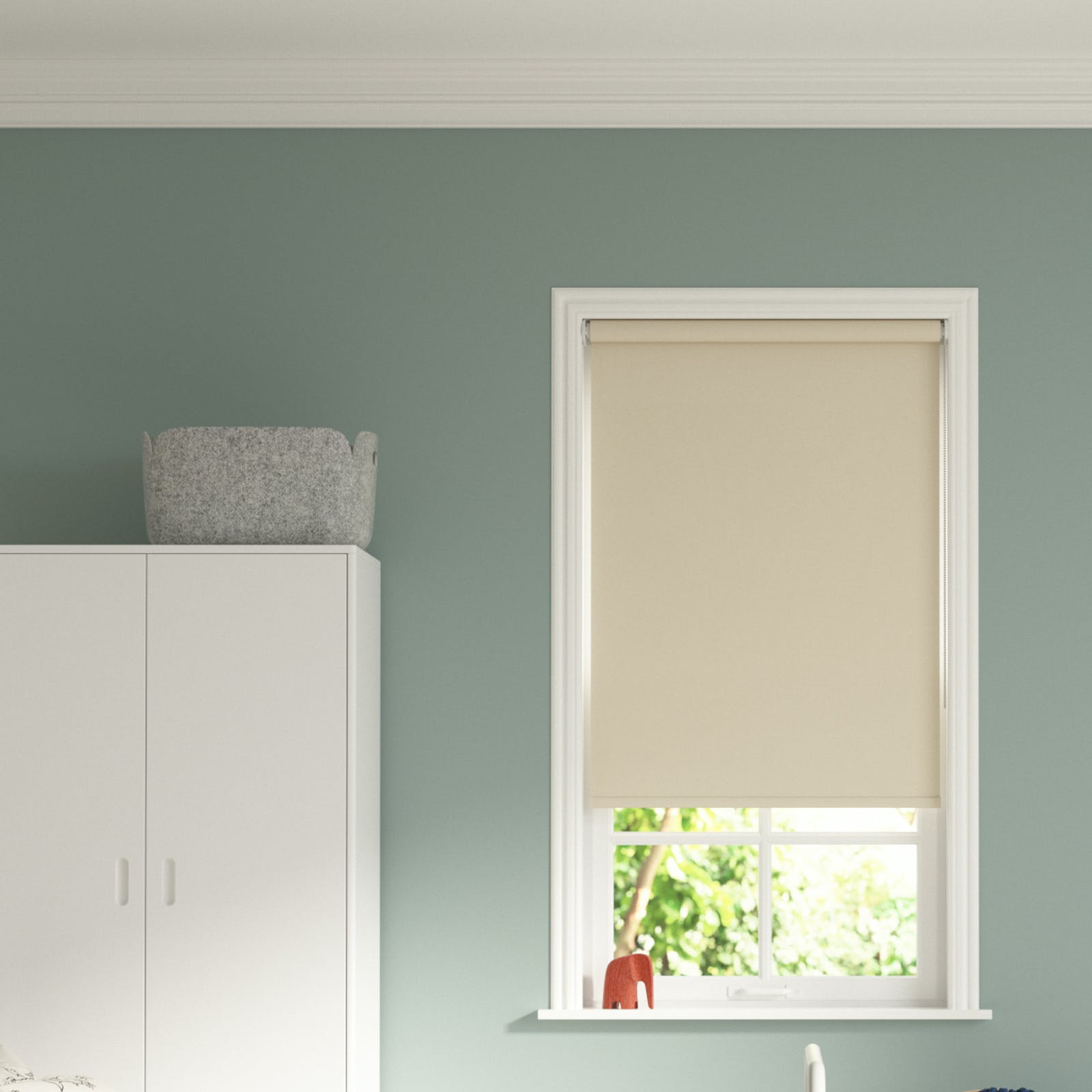 Image of a bedroom setting with Beige 01 roller blinds and Teal 01 walls