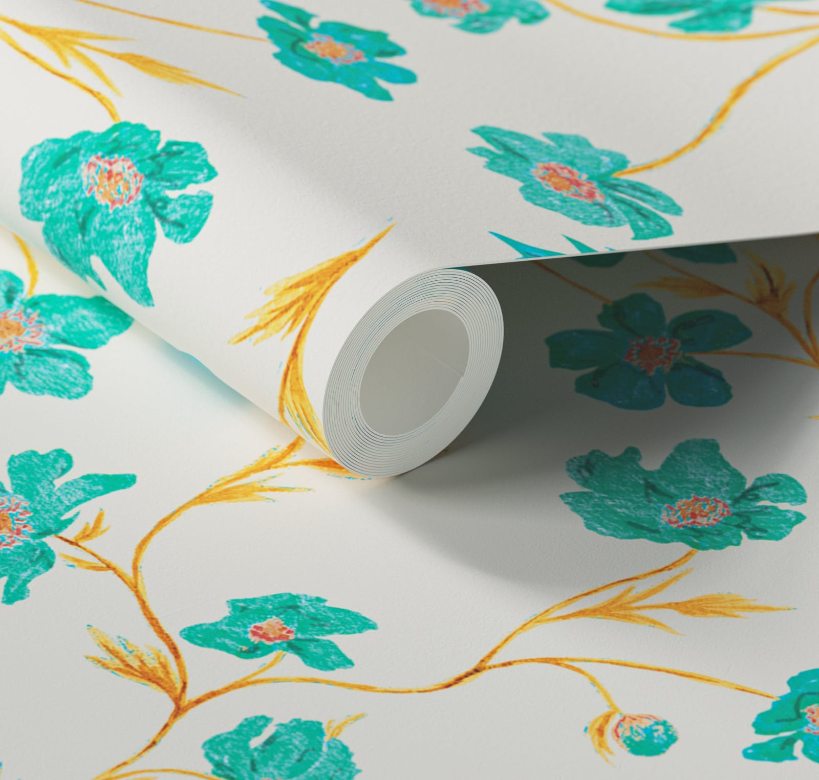Close up of Lick x Jenna Hewitt Anemone 01 turquoise floral wallpaper