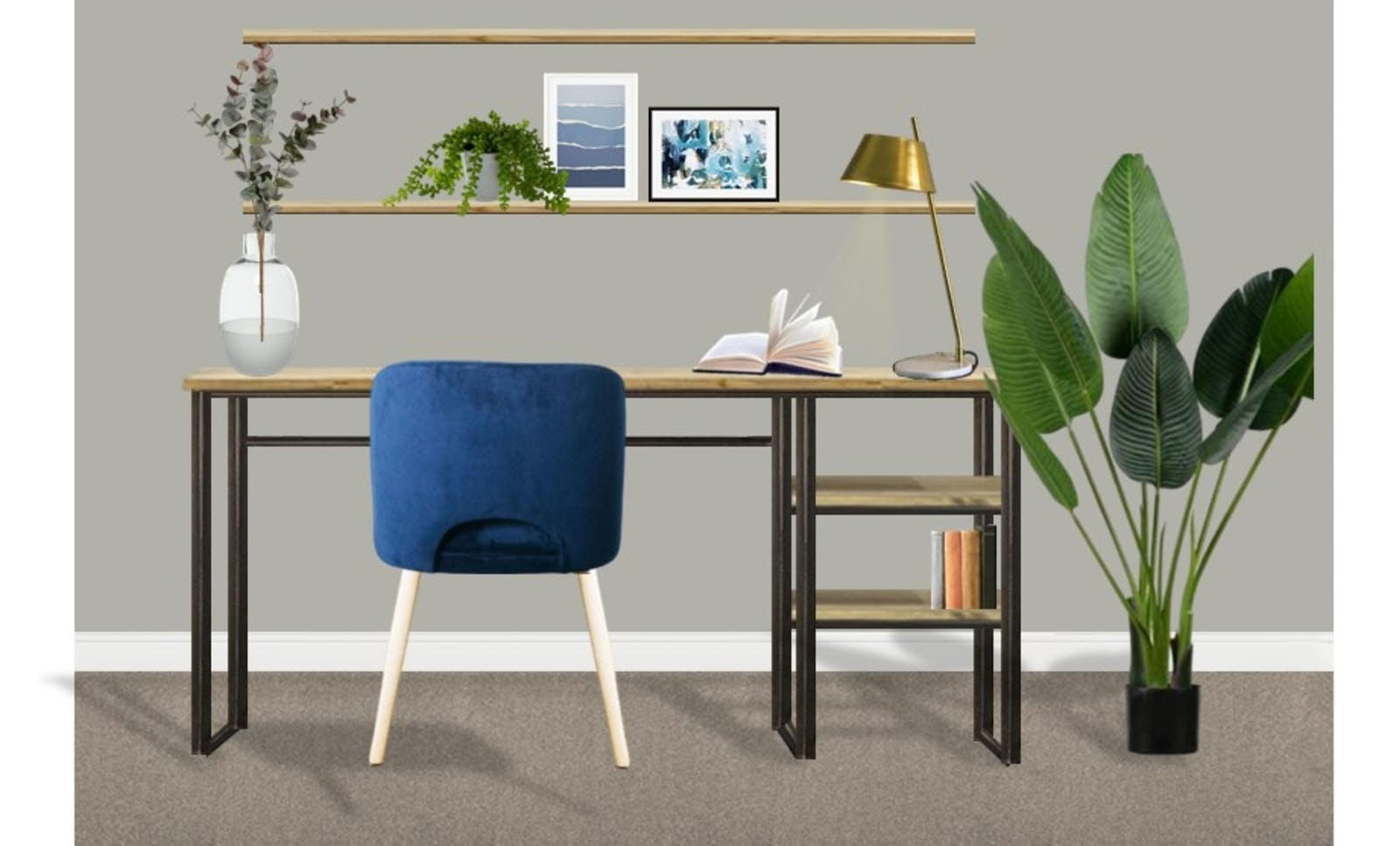 Office render with stylish furniture, a large house plant and a dark blue velvet chair