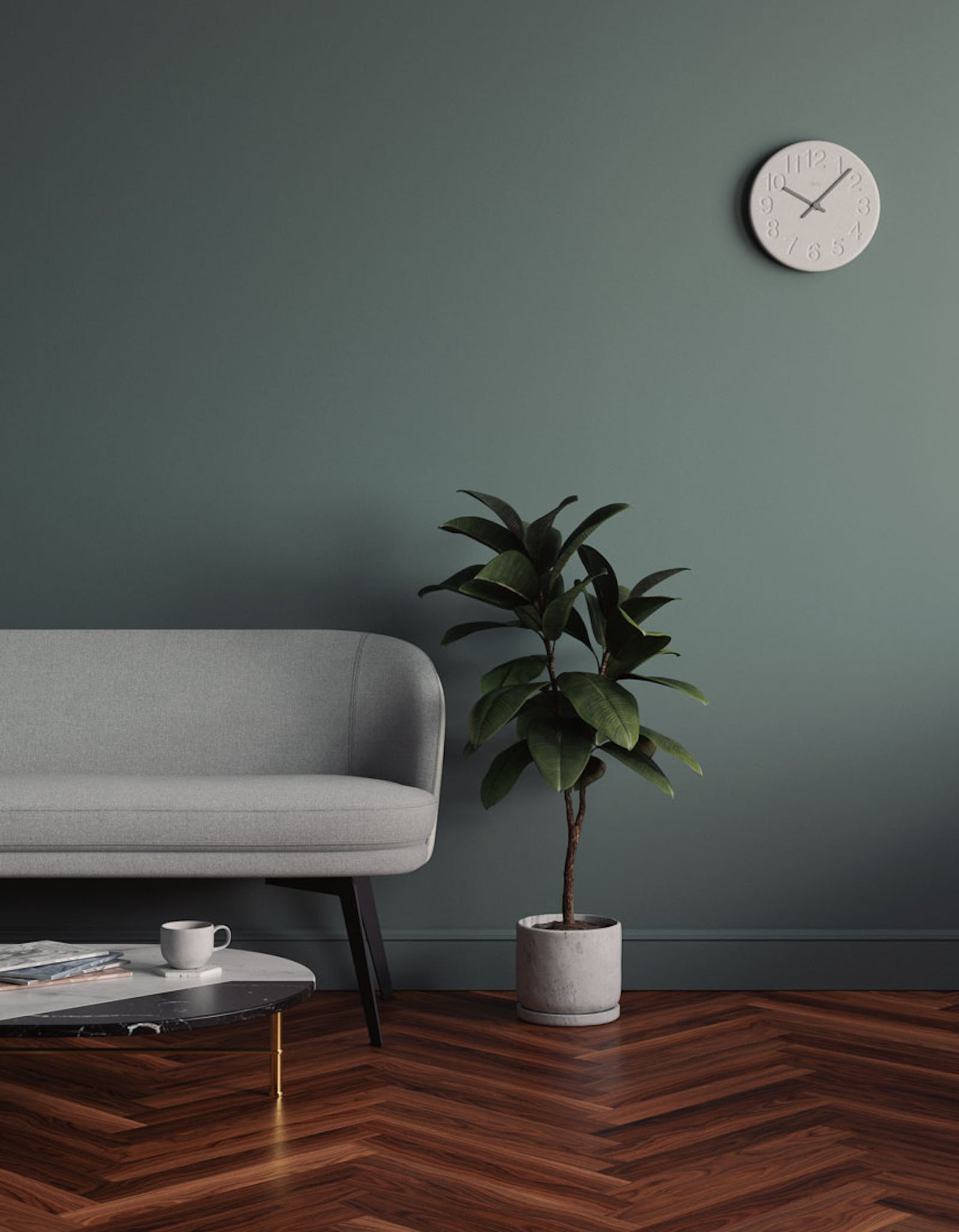 Lounge room scene with green 03 walls, plant and neutral grey accessories