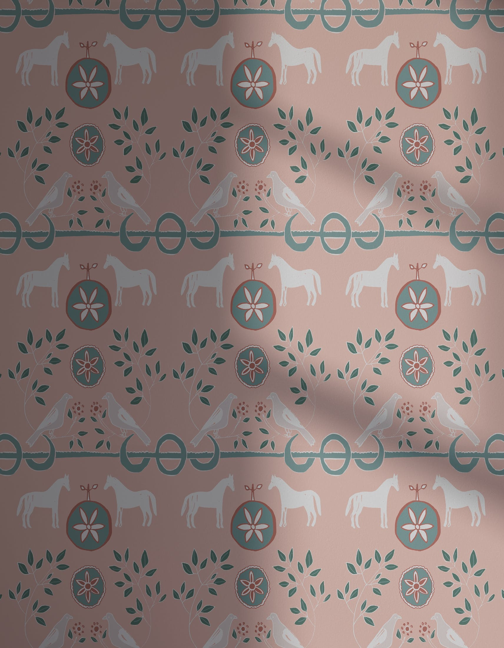 Lick x Annika Reed Dove 01 kid's pink dove wallpaper with shadow