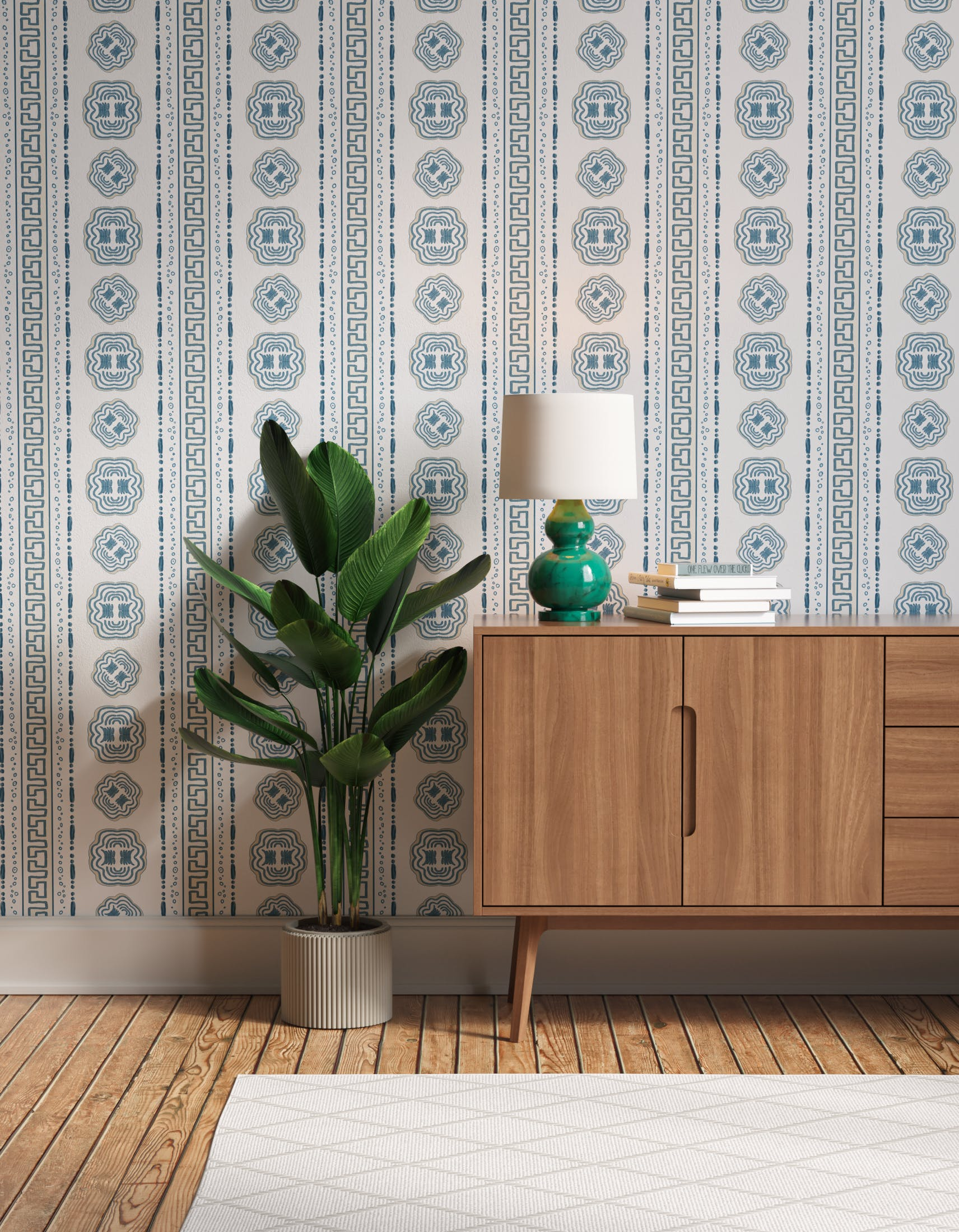 Hallway decorated with Lick x Lottie McDowell Hestia 01 greek patterened wallpaper