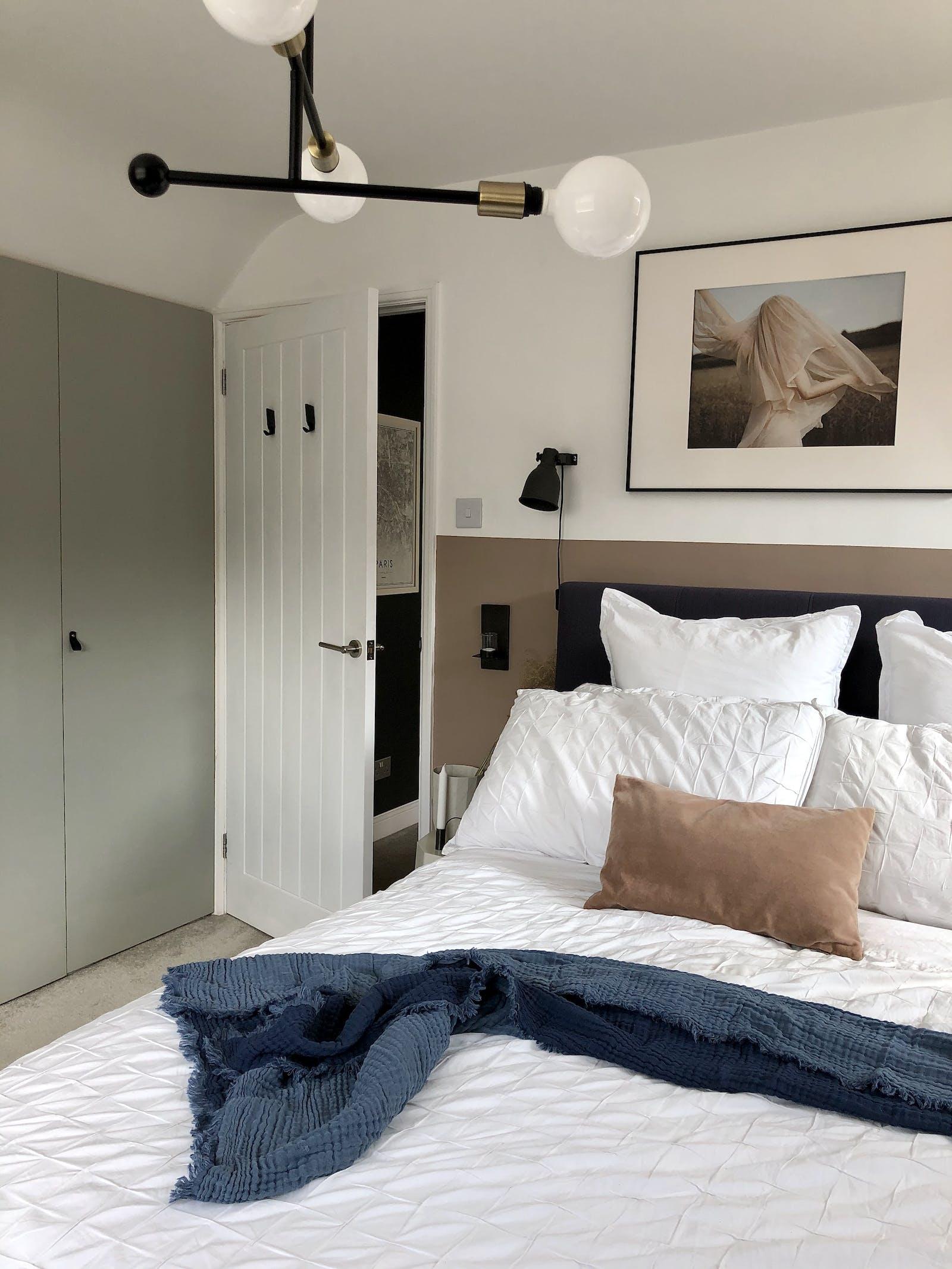 Bedroom with built in grey wardrobe