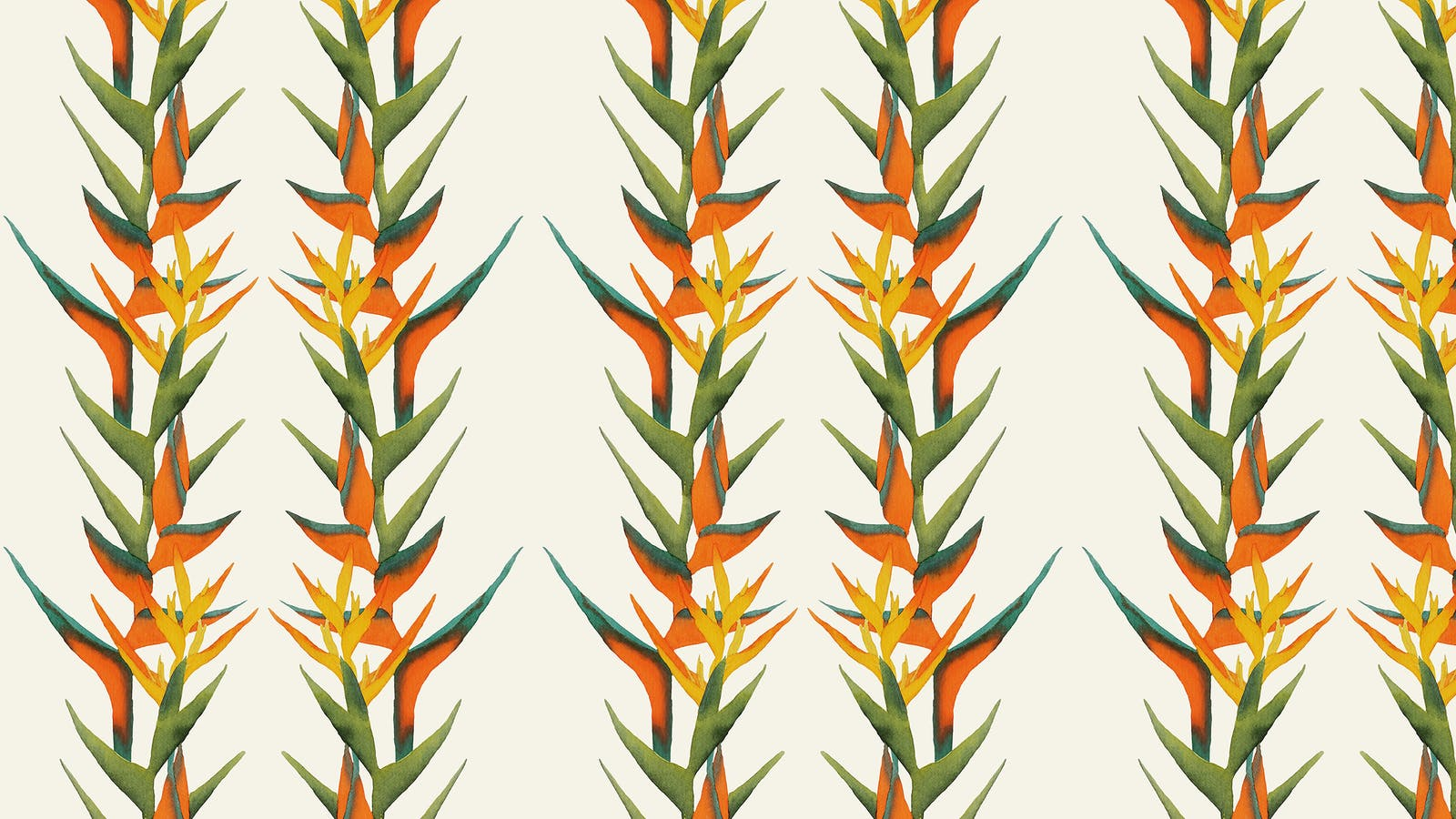 Lick x Belinda Bayley Paradise Vine 01 orange exotic botanical wallpaper