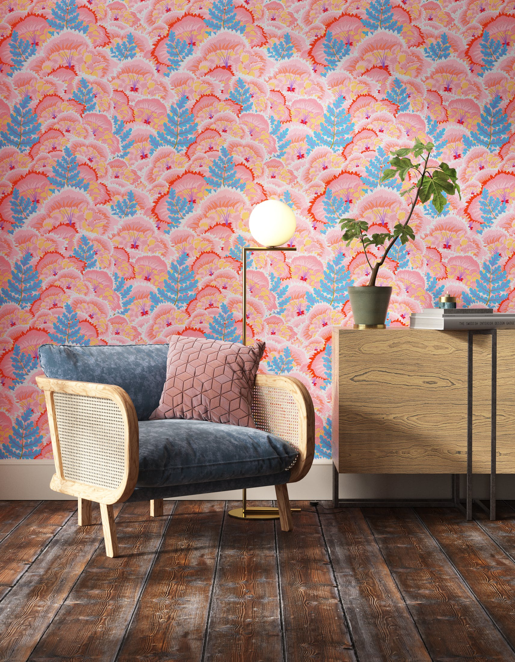 Living room decorated with Lick Electric Poppies 01, a pink floral wallpaper