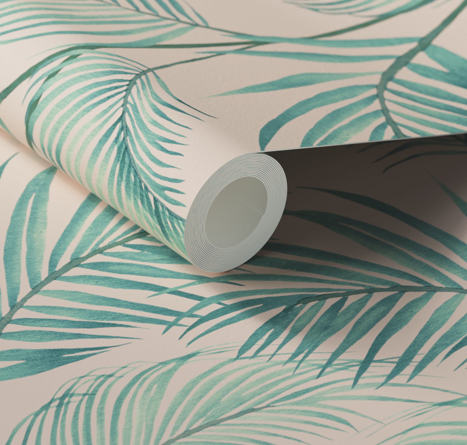 Close up of Lick x Belinda Bayley Jungle 02 pink and green palm leaf wallpaper