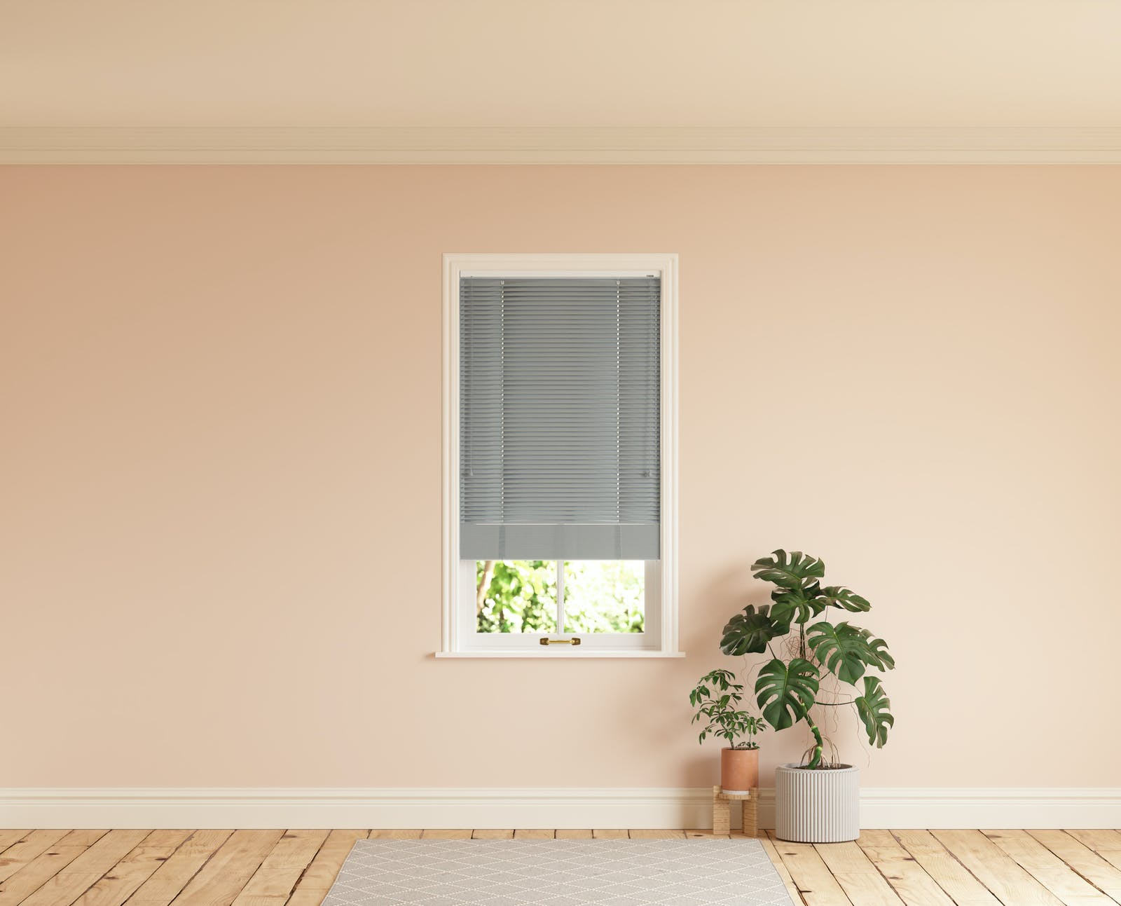 Room with walls painted in Lick Pink 02 and Grey 06 Venetian fine grain blinds