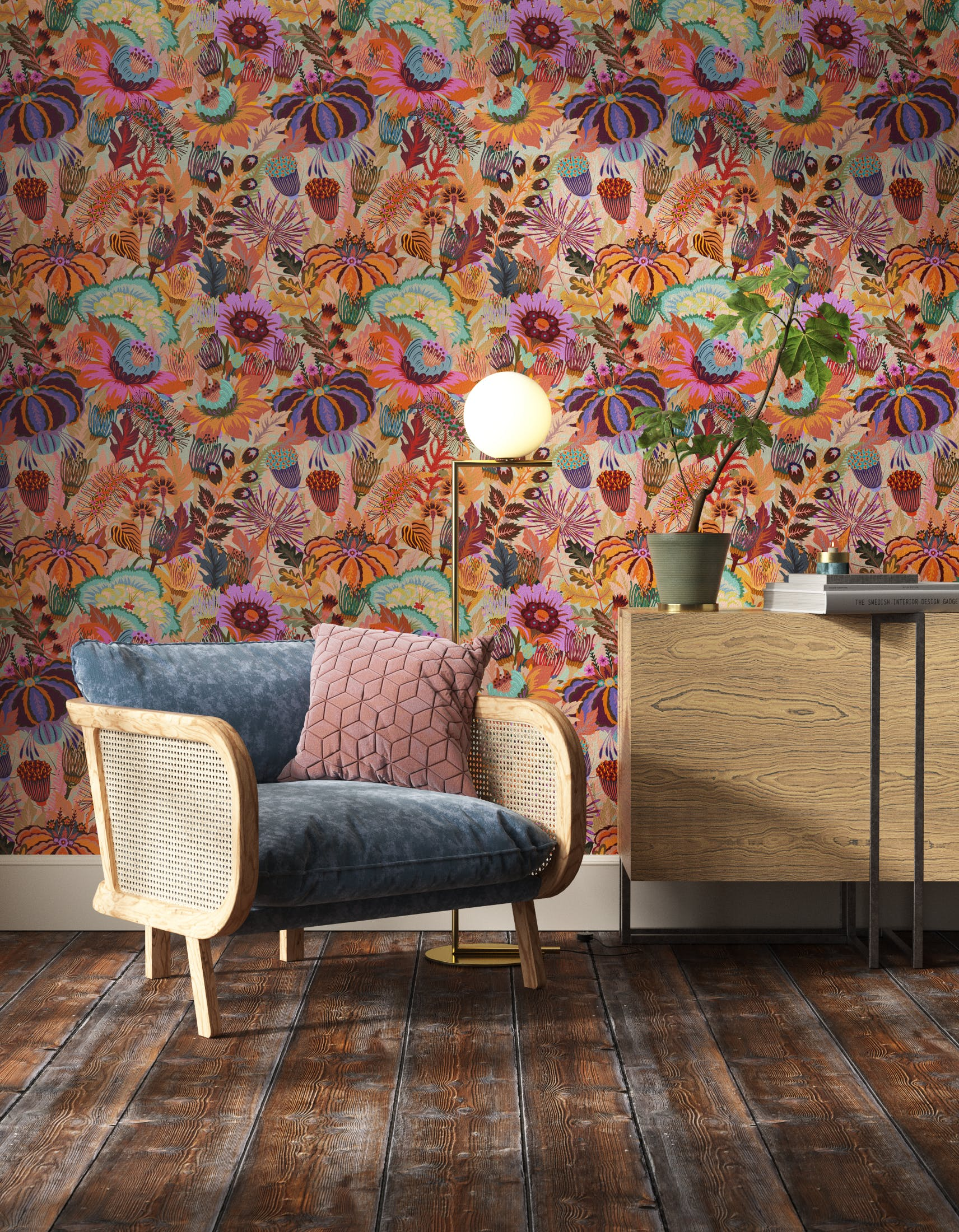 Living room decorated with Lick Mars Meadow 02, an orange floral wallpaper