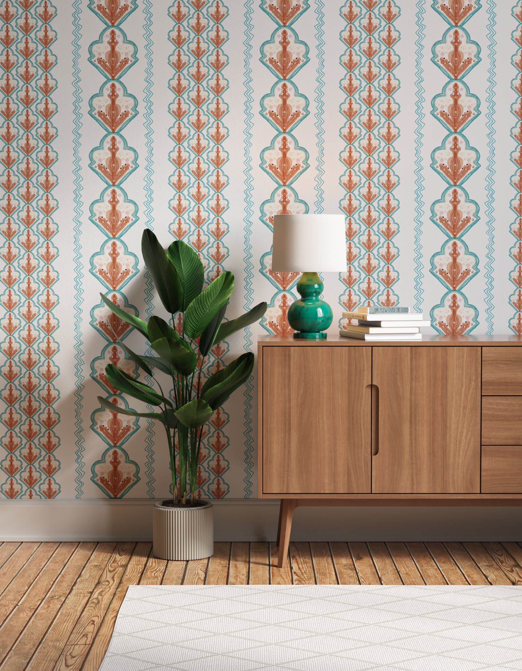 Hallway decorated with Lick x Lottie McDowell Travelling Tiles 02 orange patterned mosaic wallpaper