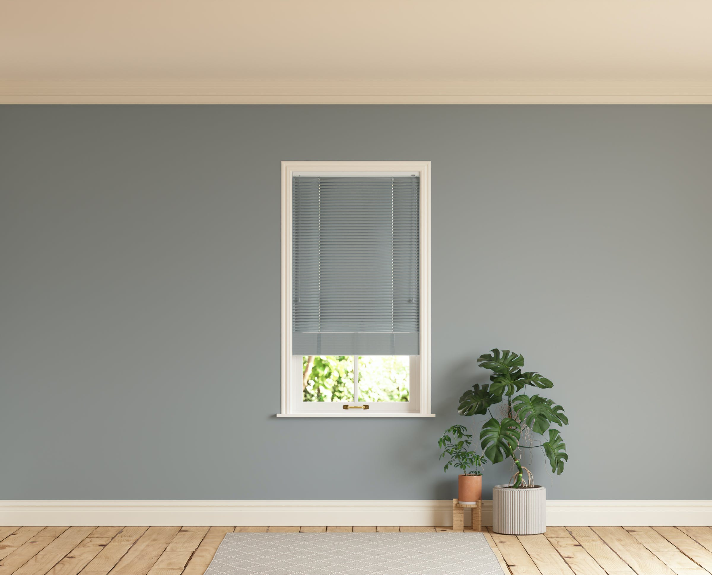 Room with walls painted in Lick Grey 06 and Grey 06 Venetian fine grain blinds