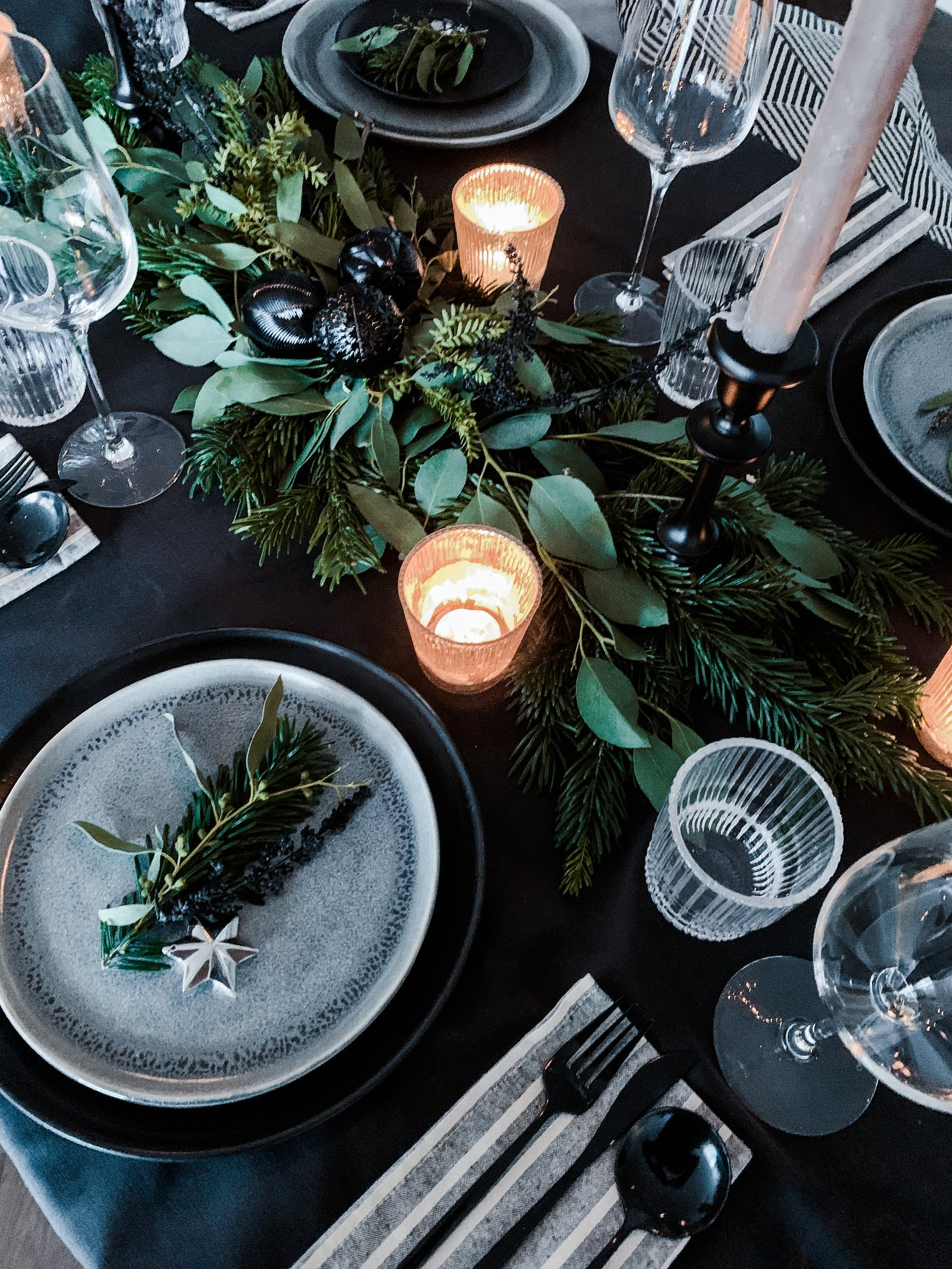 Fresh foliage on a dining table