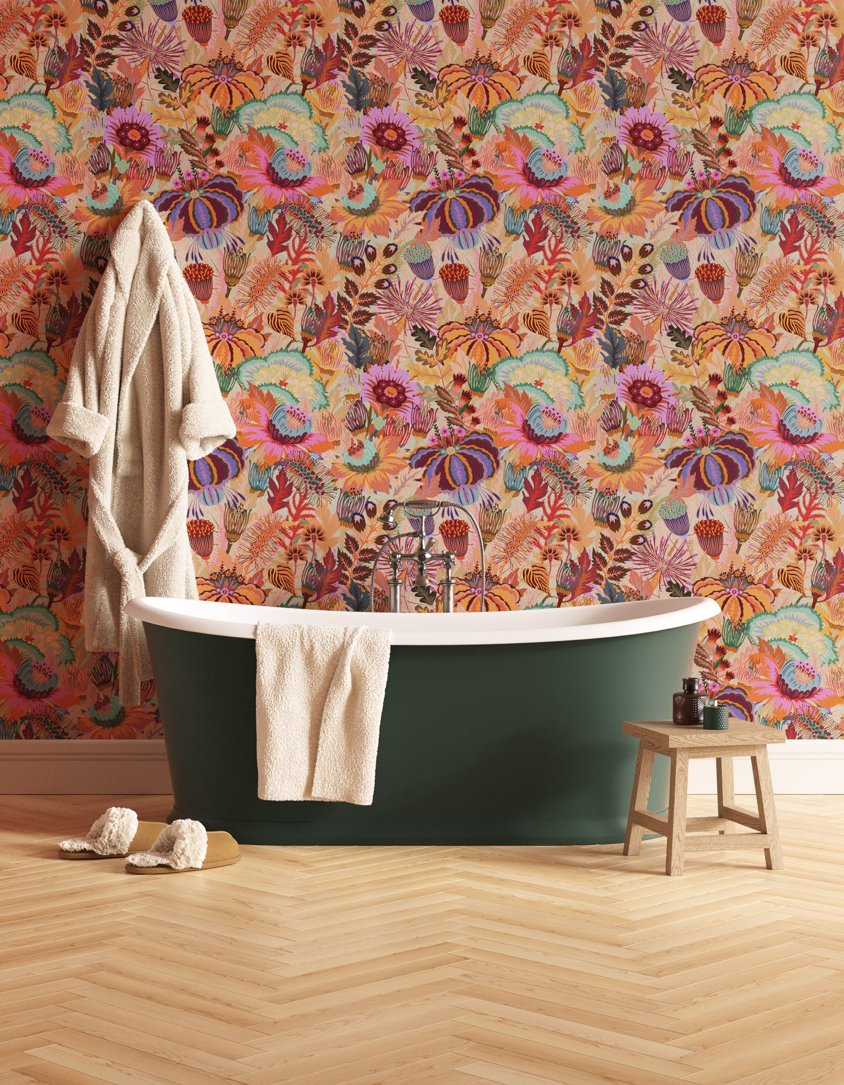 Bathroom decorated with Lick Mars Meadow 02, a orange floral wallpaper