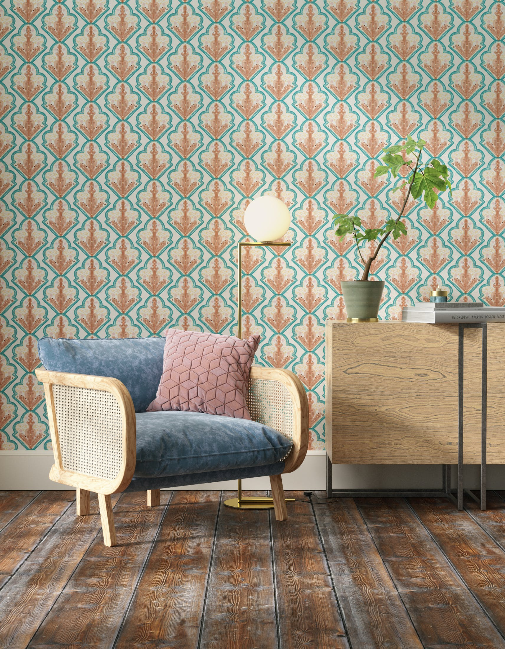 Living room decorated with Lick x Lottie McDowell Travelling Tiles 01 mosaic wallpaper