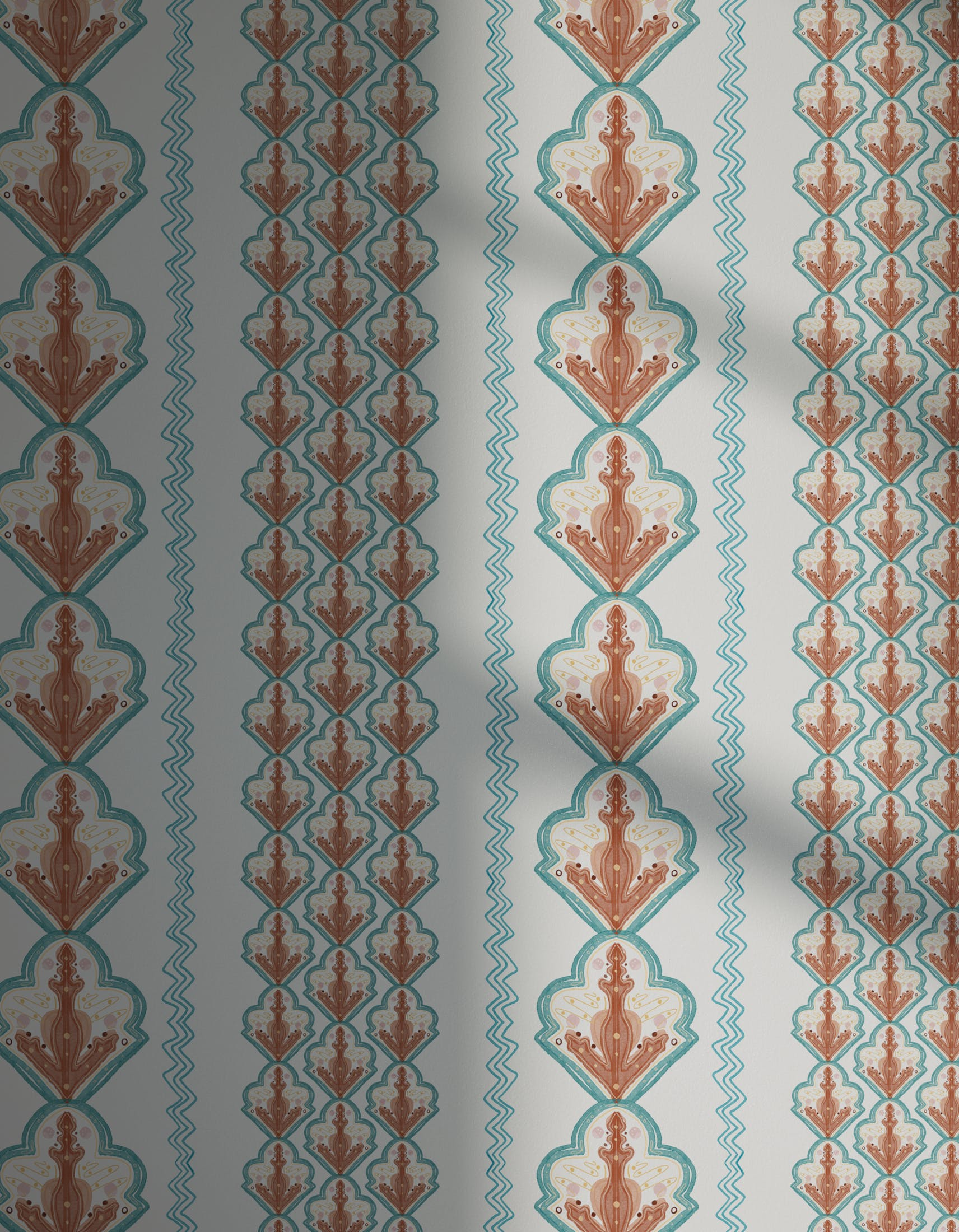 Lick x Lottie McDowell Travelling Tiles 02 orange patterned mosaic wallpaper with shadow