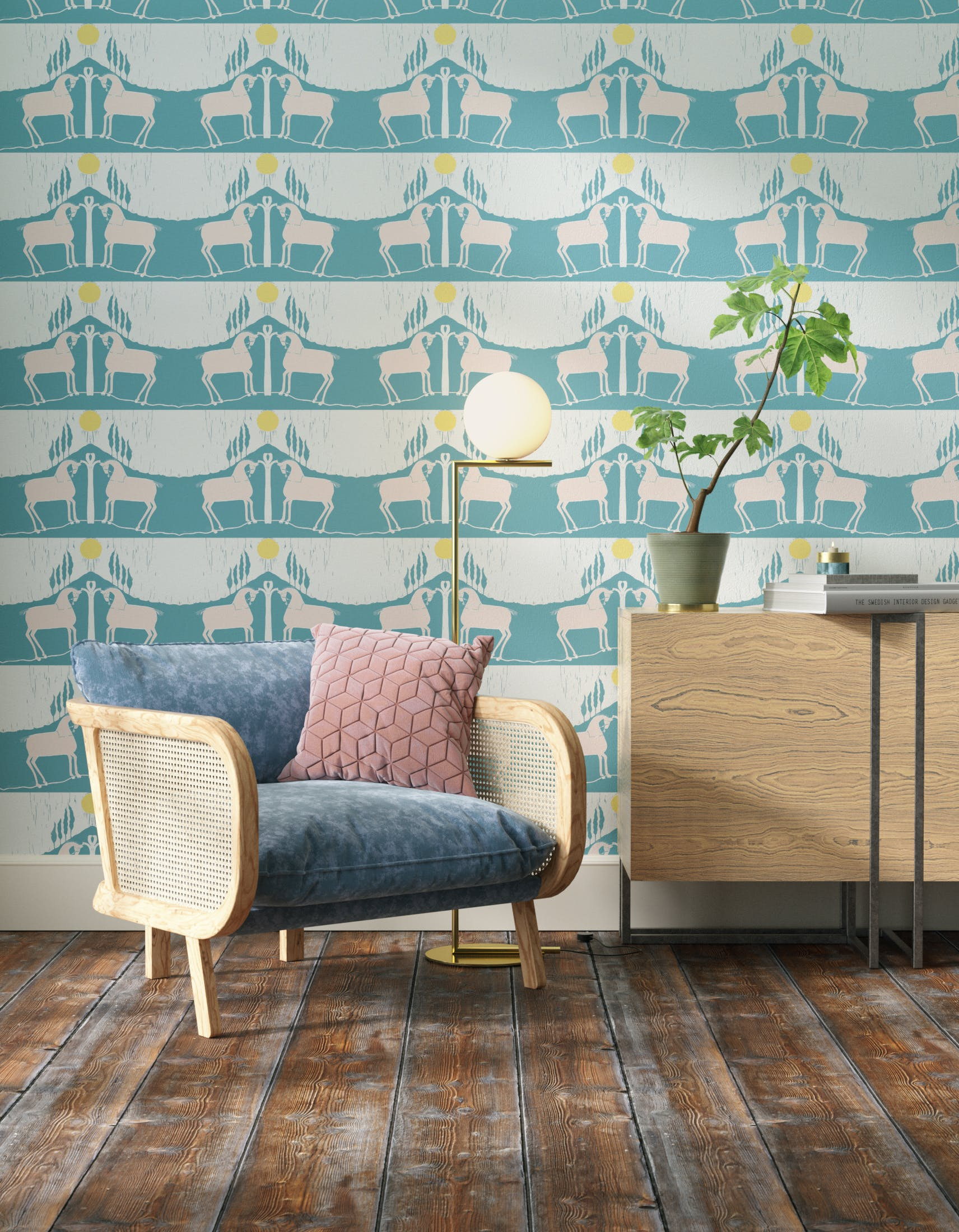 Living room decorated with Lick x Annika Reed Western 01 teal and yellow animal wallpaper