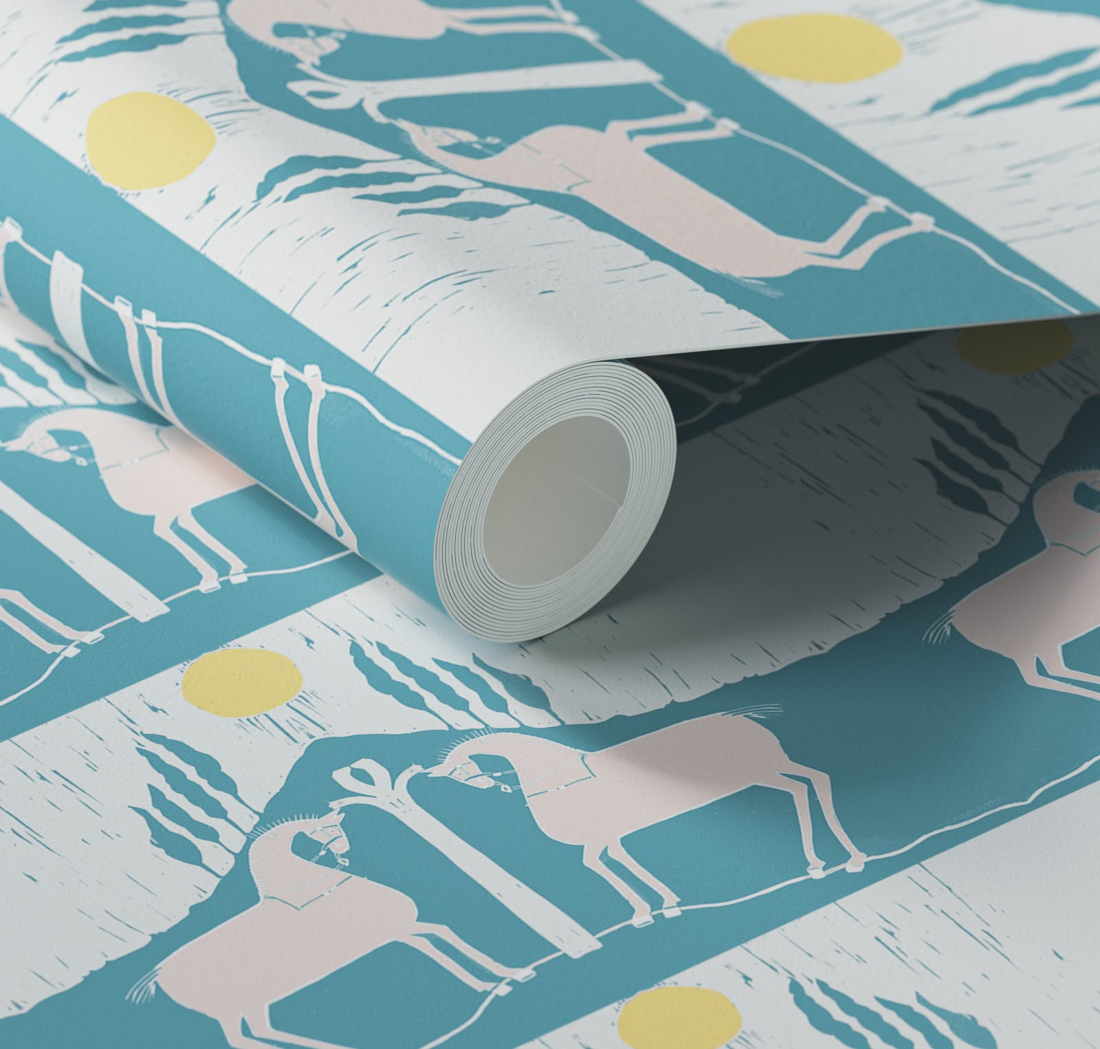 Close up of Lick x Annika Reed Western 01 teal and yellow animal wallpaper
