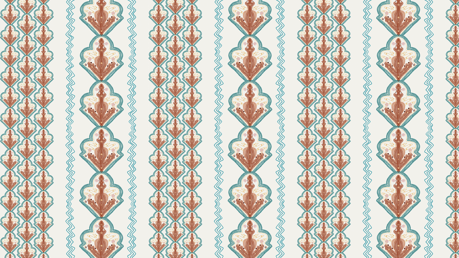 Lick x Lottie McDowell Travelling Tiles 02 orange patterned mosaic wallpaper