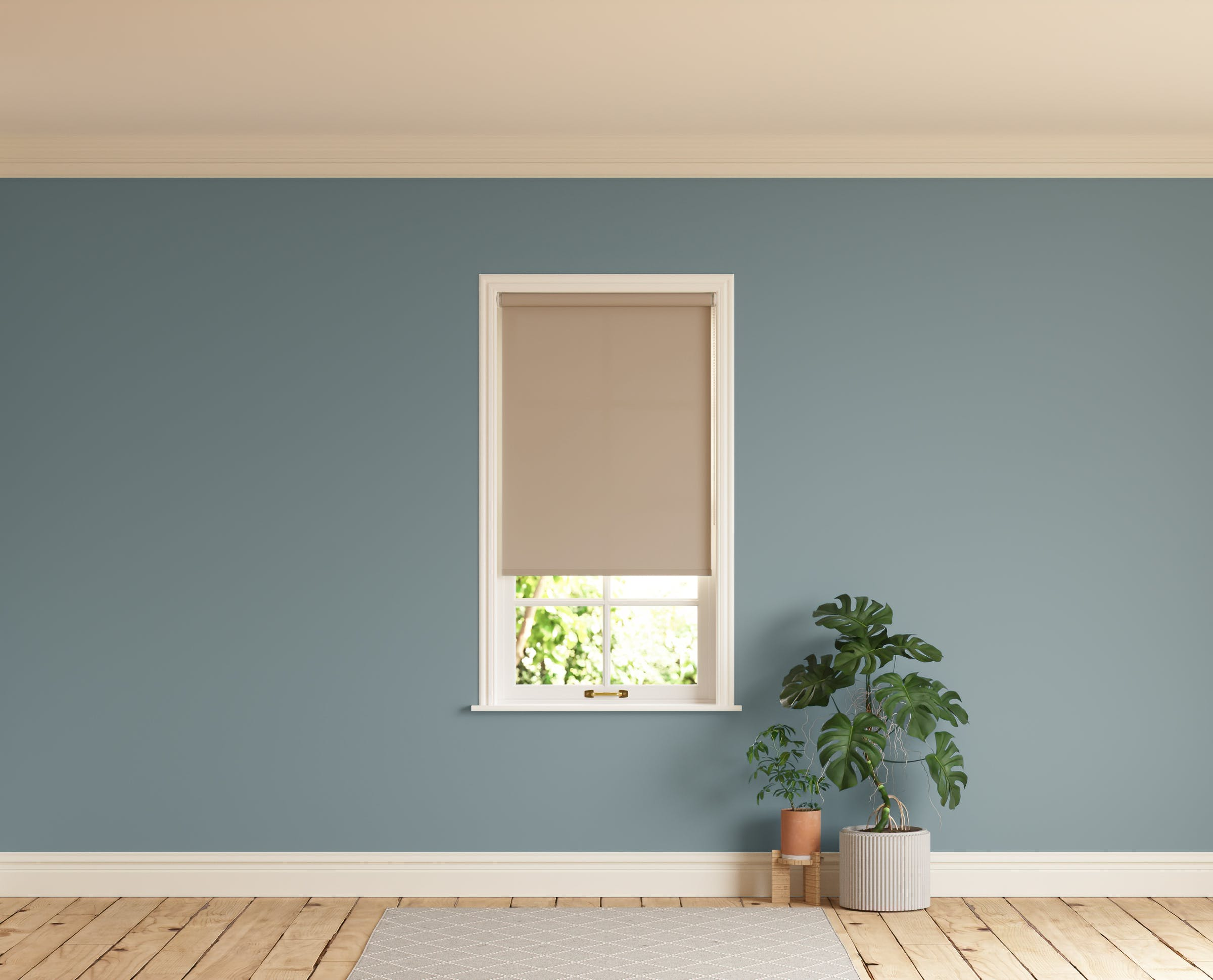 Room with walls painted in Lick Teal 02 and Beige 02 roller blinds