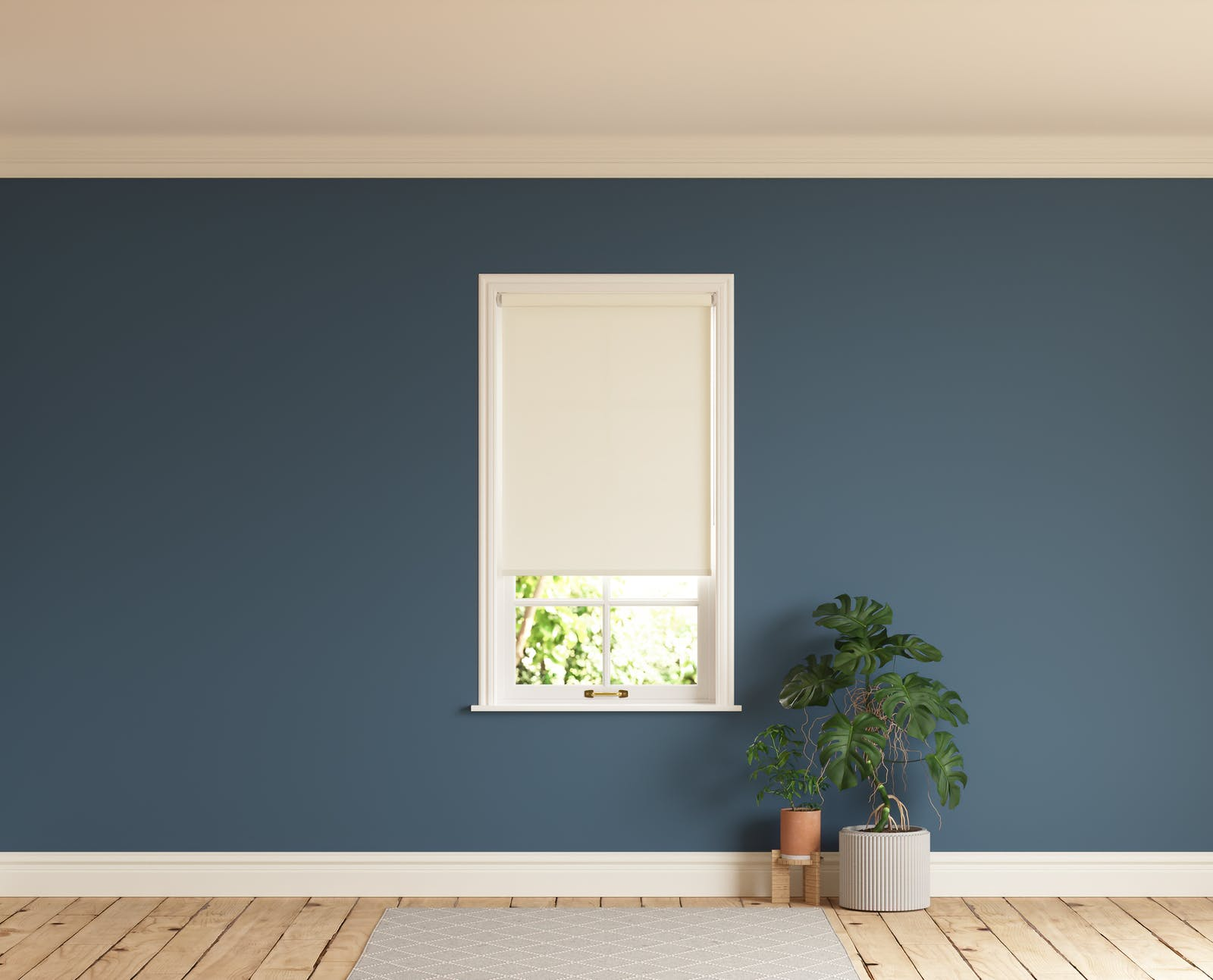 Room with walls painted in Lick Blue 06 and White 01 roller blinds