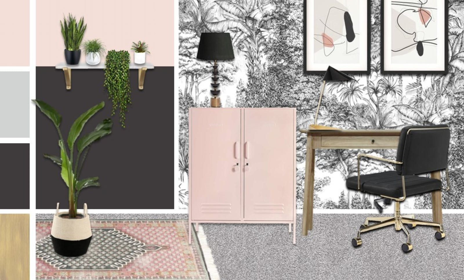 Office render with black and white botanical wallpaper, pink accents and house plants