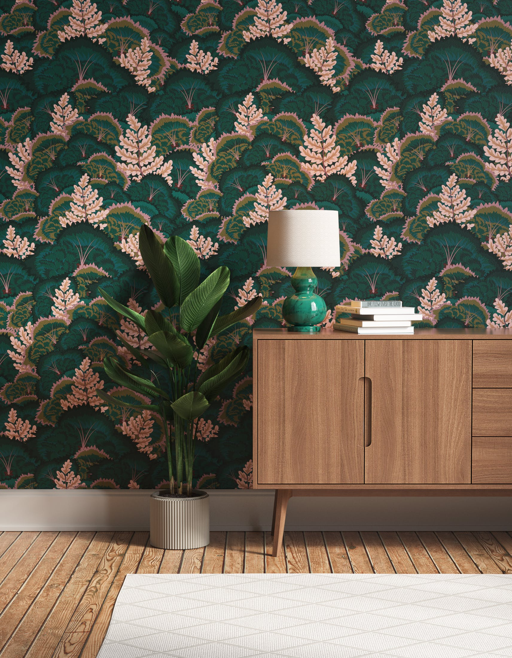 Hallway decorated with Lick Electric Poppies 02, a green floral wallpaper
