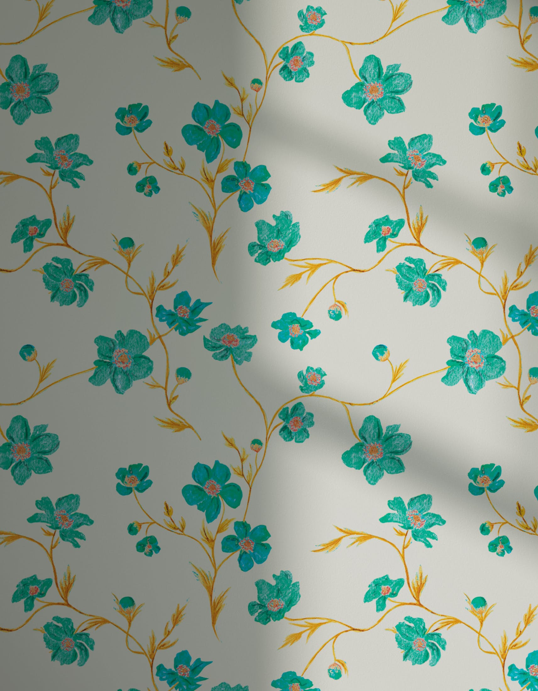 Lick x Jenna Hewitt Anemone 01 turquoise floral wallpaper with shadow