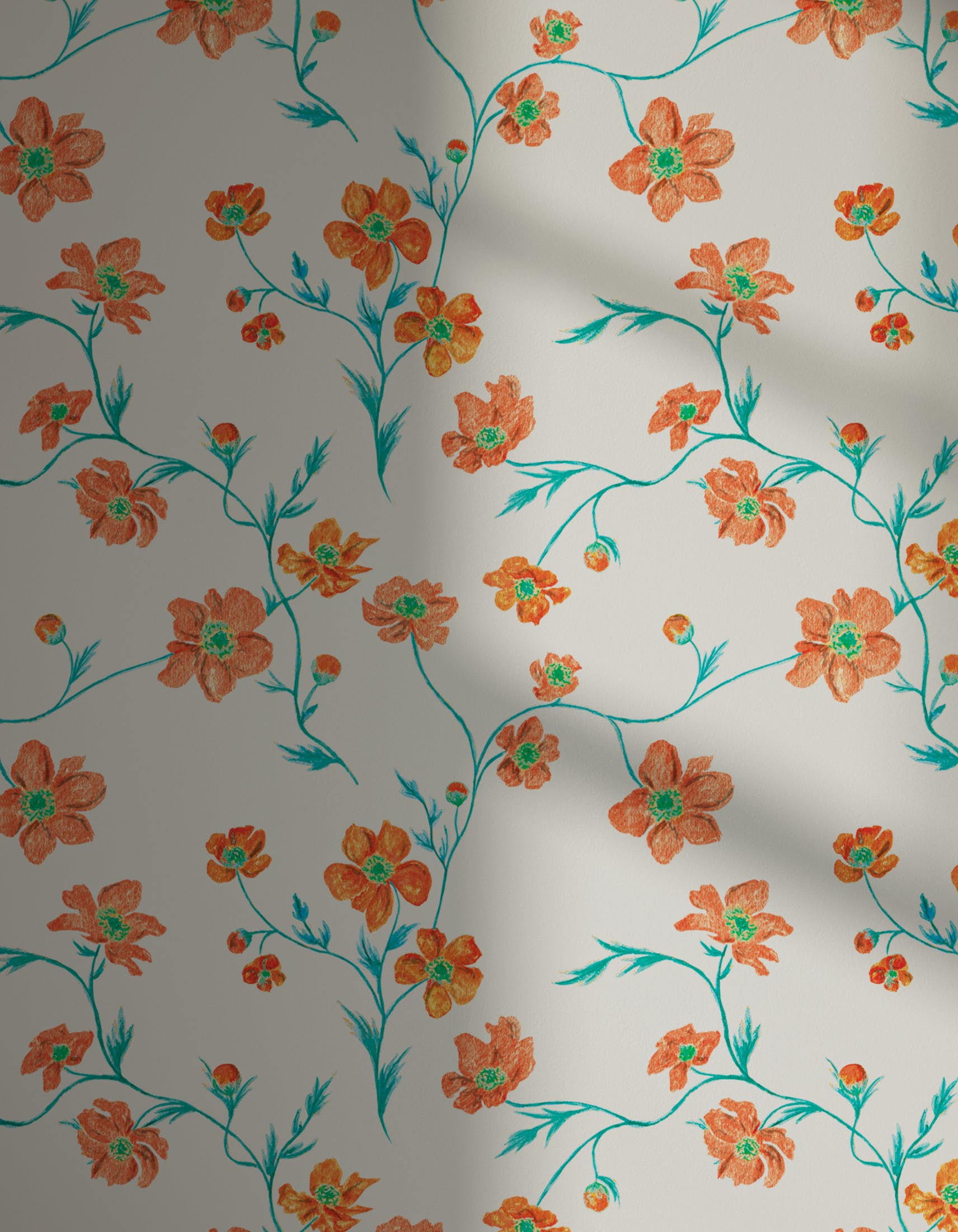 Lick x Jenna Hewitt Anemone 02 orange floral wallpaper with shadow