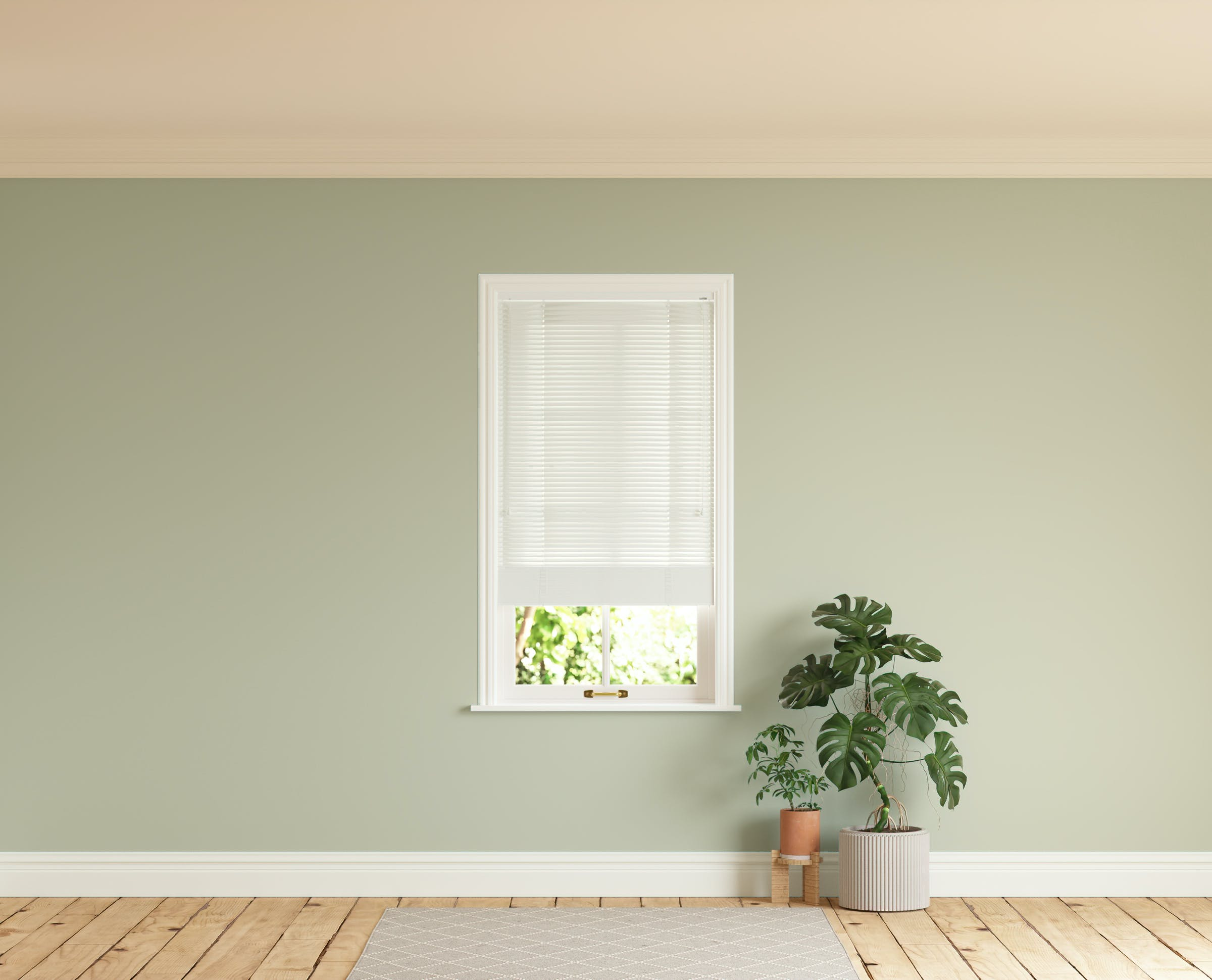 Room with walls painted in Lick Green 01 and White 01 Venetian blinds