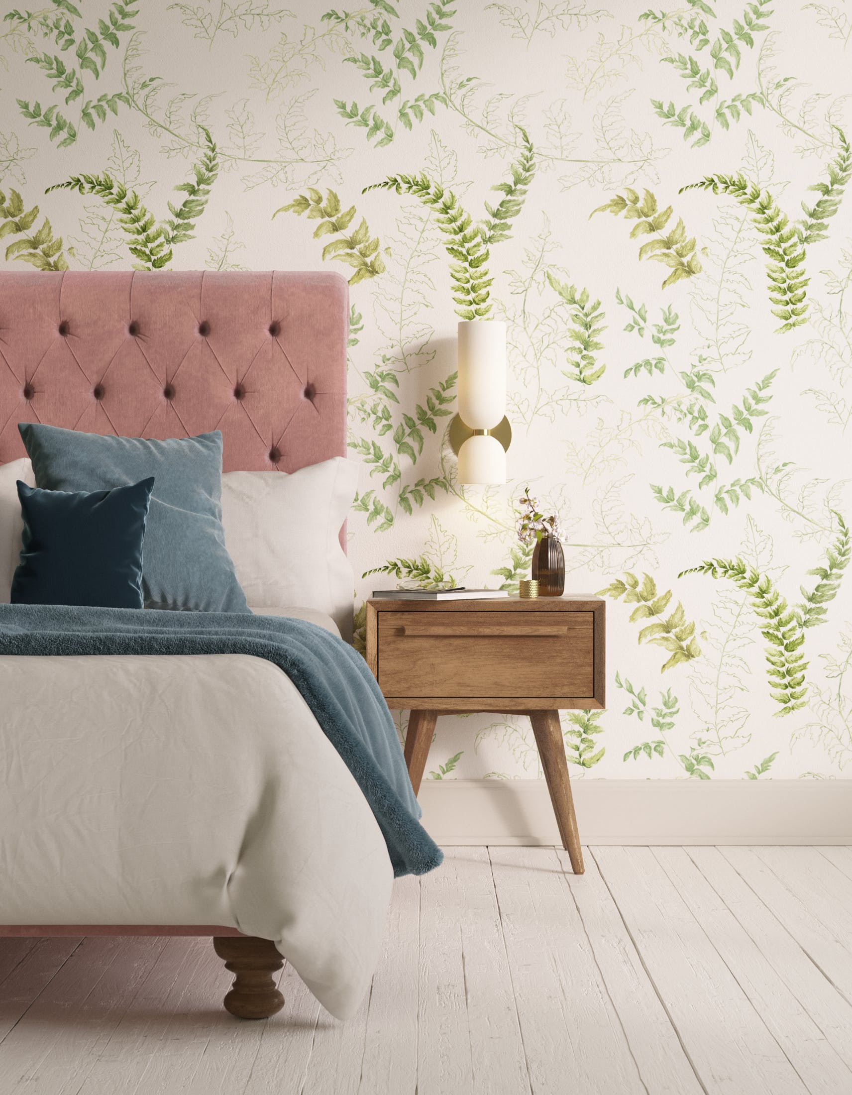 Bedroom decorated with Lick x Jenna Hewitt Fern 01 green botanical wallpaper