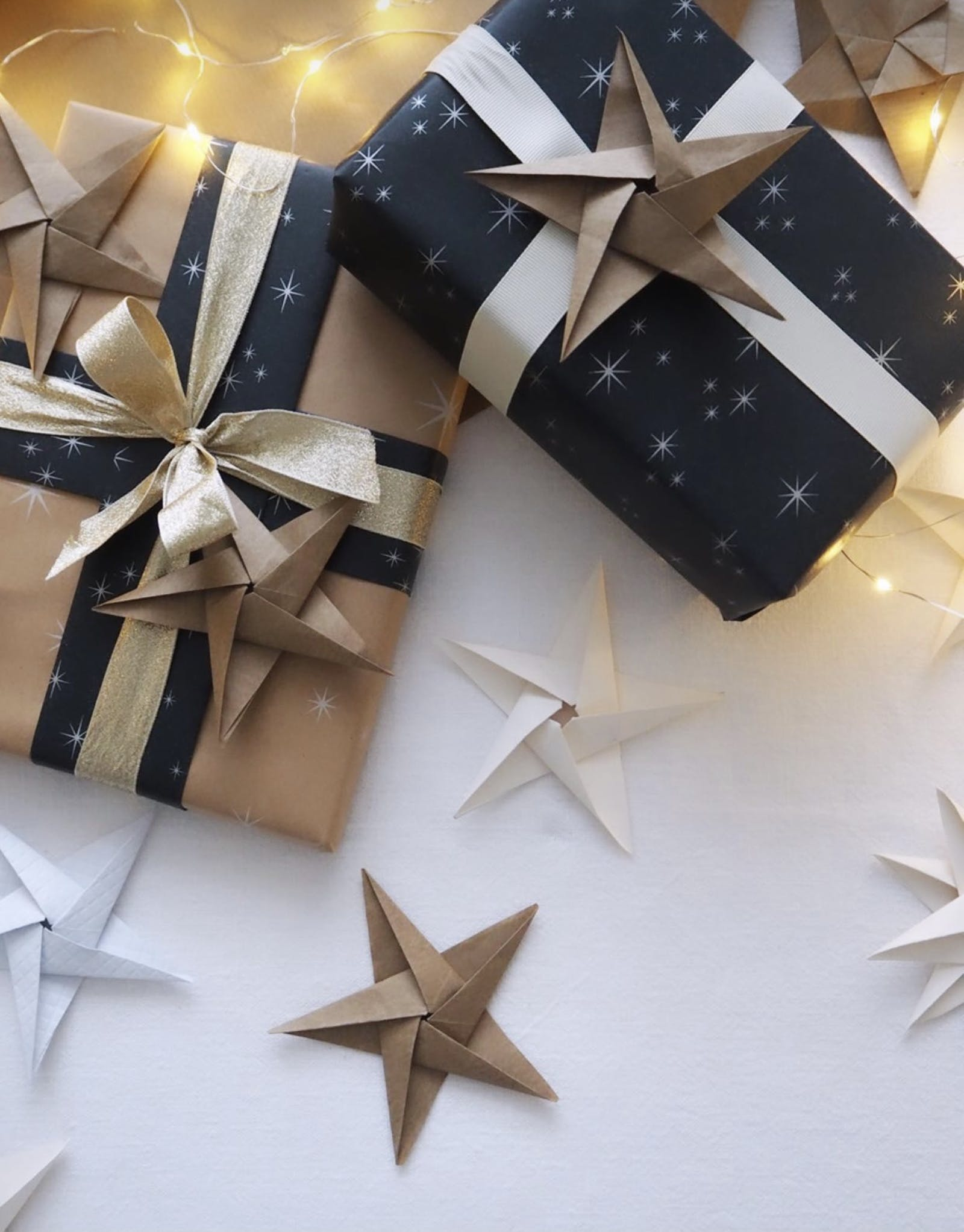 Star origami on gifts