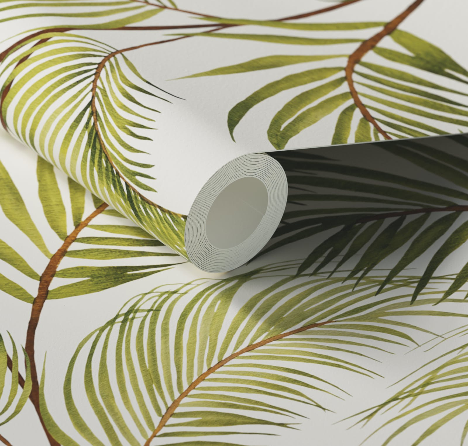 Close up of Lick x Belinda Bayley Jungle 03 white and green palm leaf wallpaper