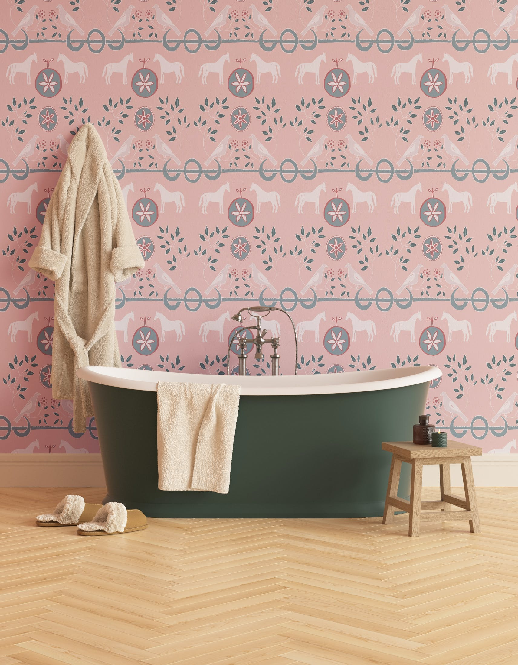 Bathroom decorated with Lick x Annika Reed Dove 01 kid's pink dove wallpaper