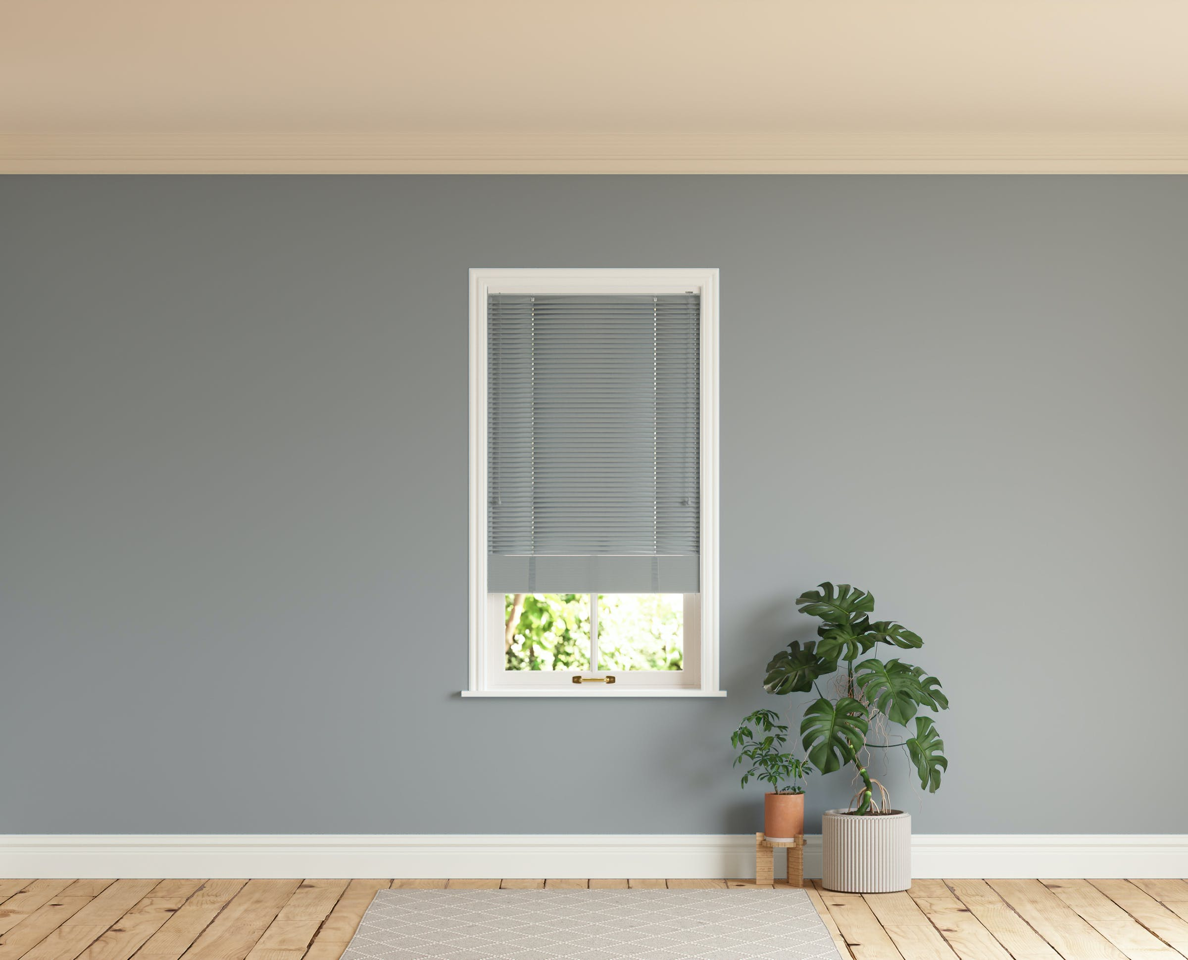 Room with walls painted in Lick Grey 06 and Grey 06 Venetian blinds