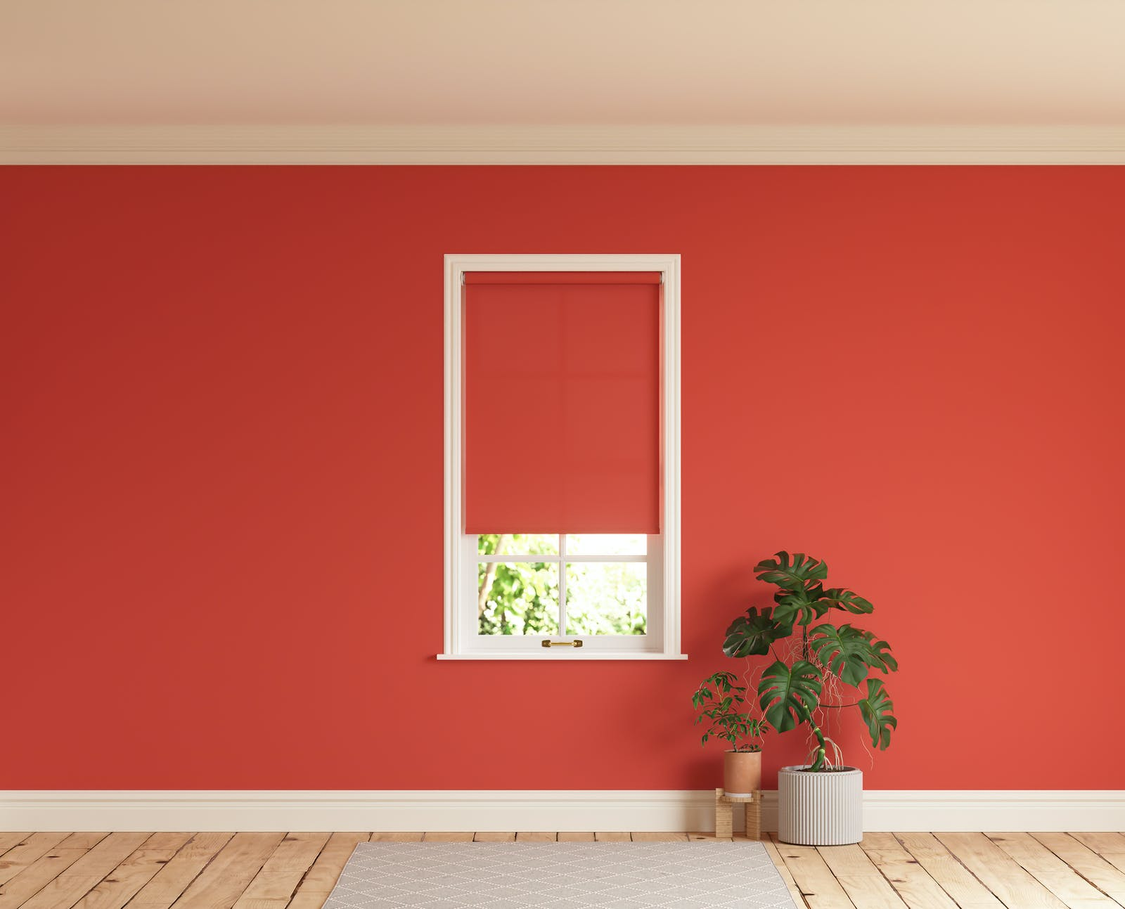 Room with walls painted in Lick Red 02 and Red 02 roller blinds
